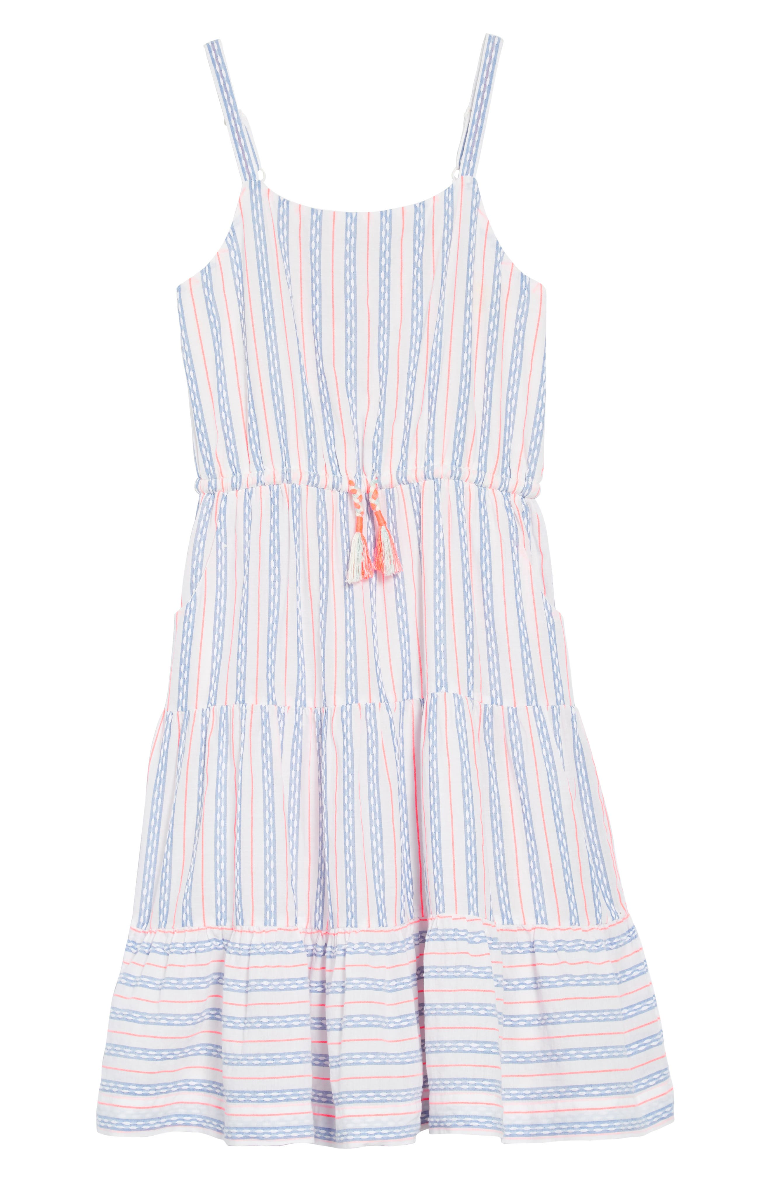 Tiered Strappy Woven Dress,                             Main thumbnail 1, color,                             Textured Blue And White Stripe