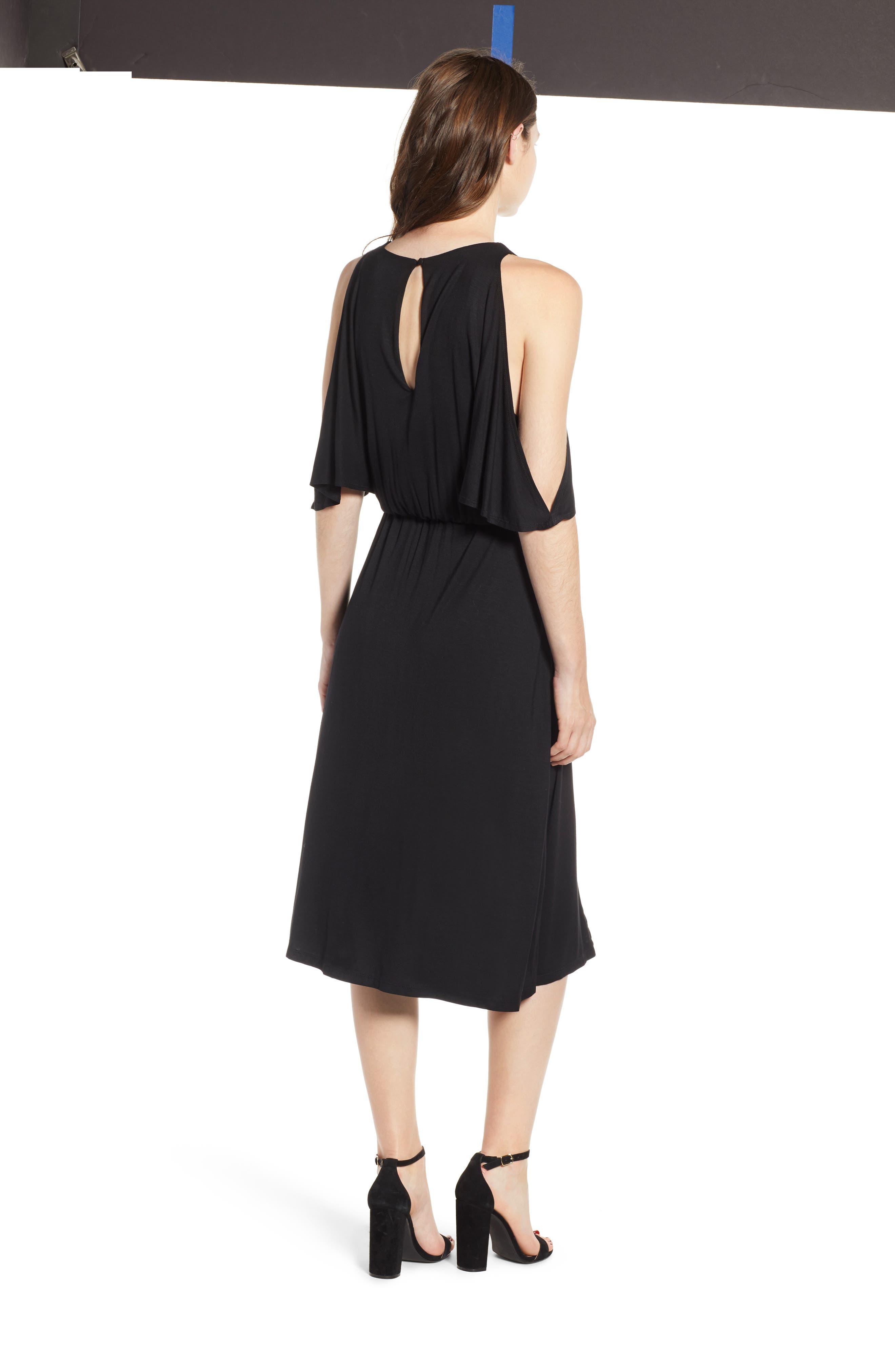 Bishop + Young Slit Sleeve Wrap Style Dress,                             Alternate thumbnail 2, color,                             Black
