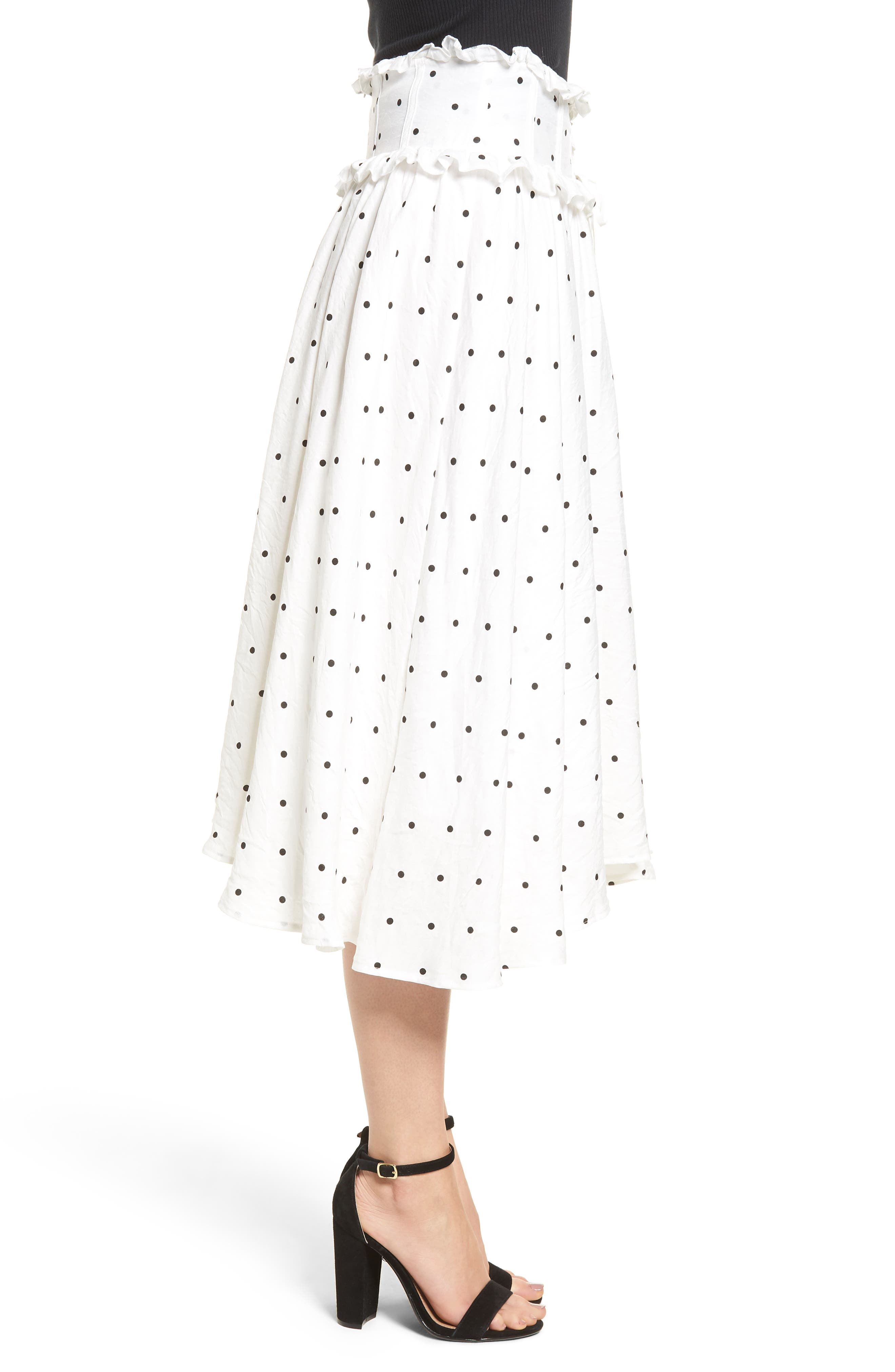 Lace-Up A-Line Skirt,                             Alternate thumbnail 4, color,                             Mono