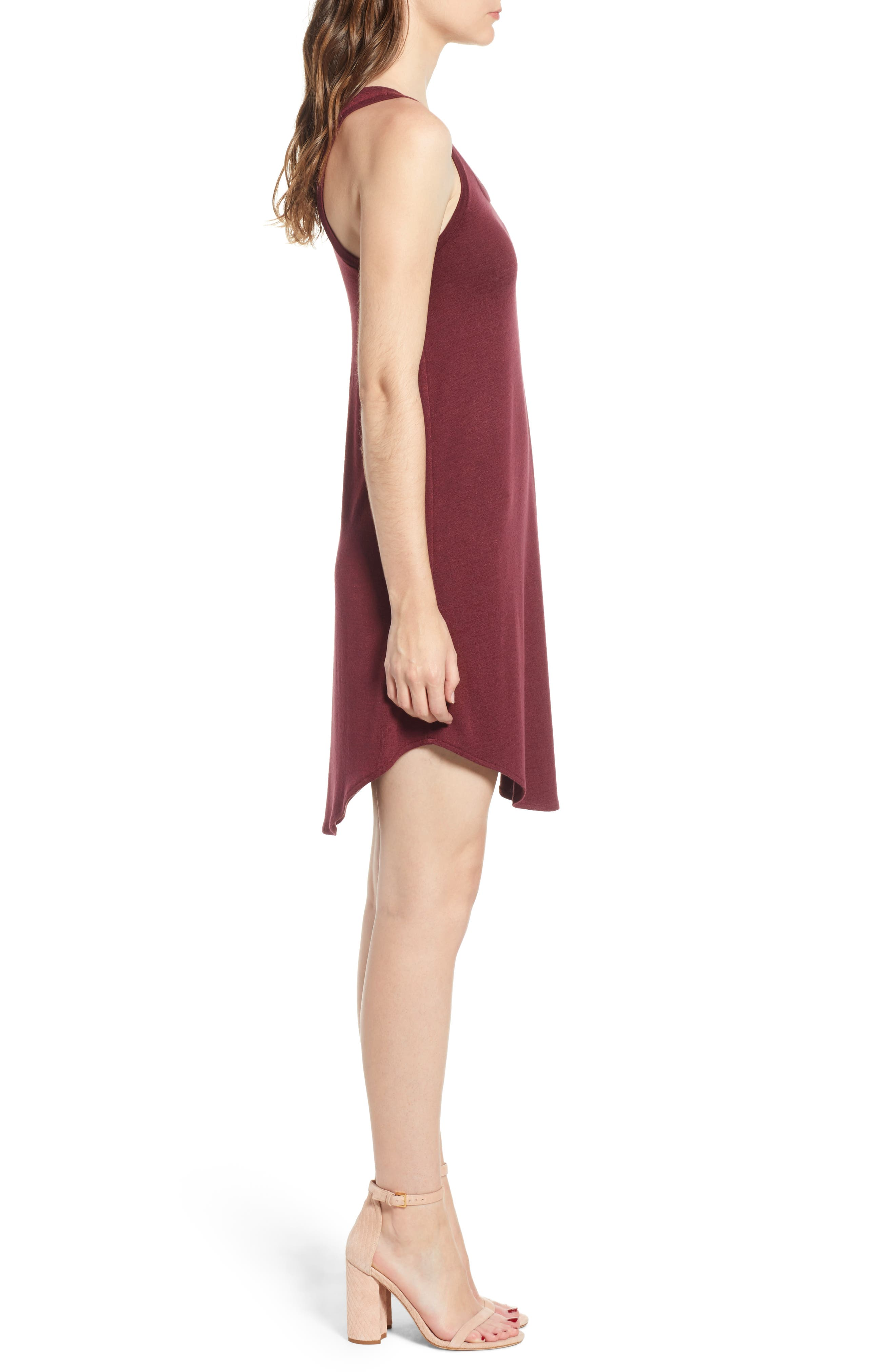 Tank Shift Dress,                             Alternate thumbnail 3, color,                             Red Tannin