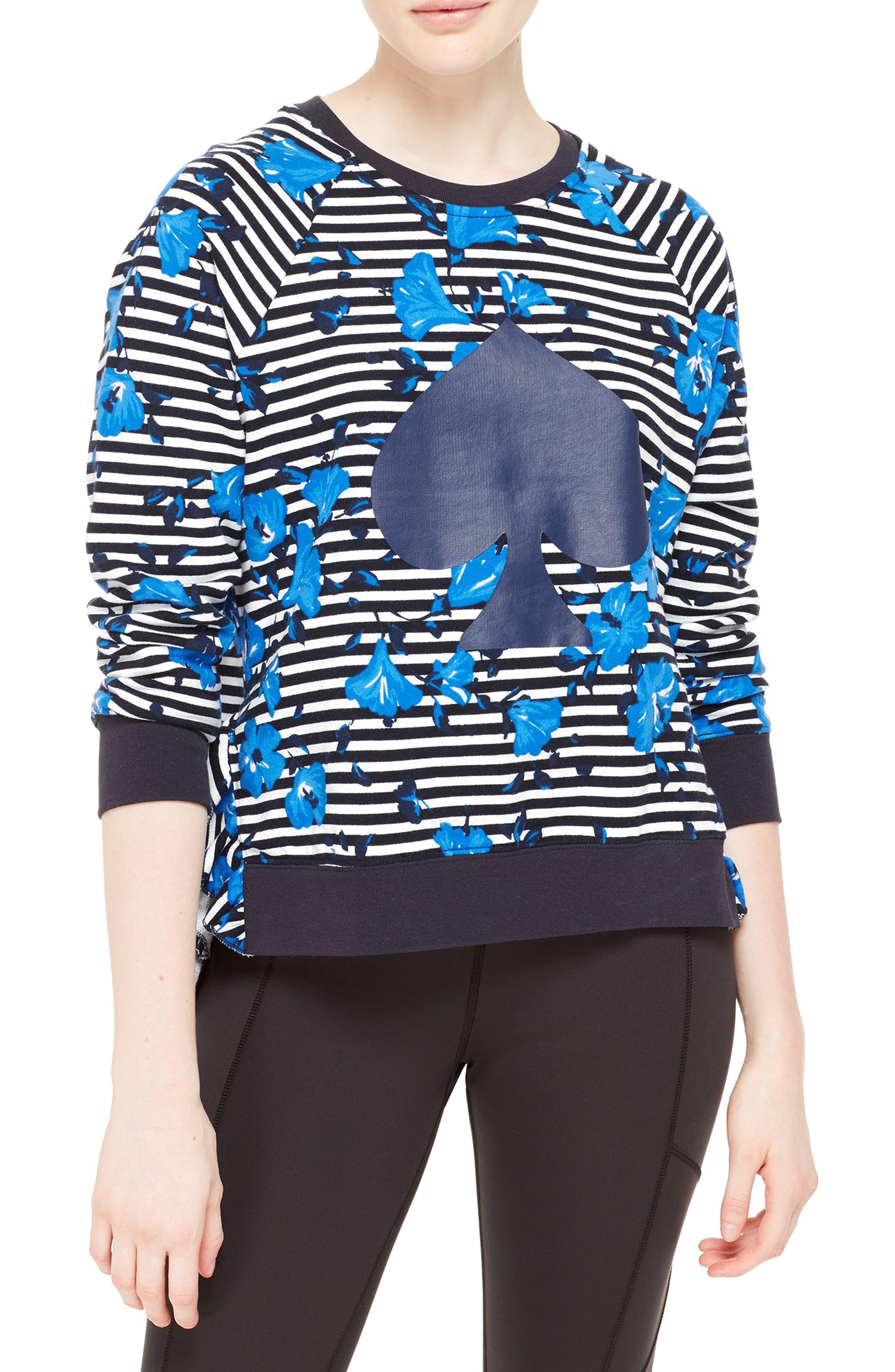 hibiscus stripe sweatshirt,                             Main thumbnail 1, color,                             Rich Navy