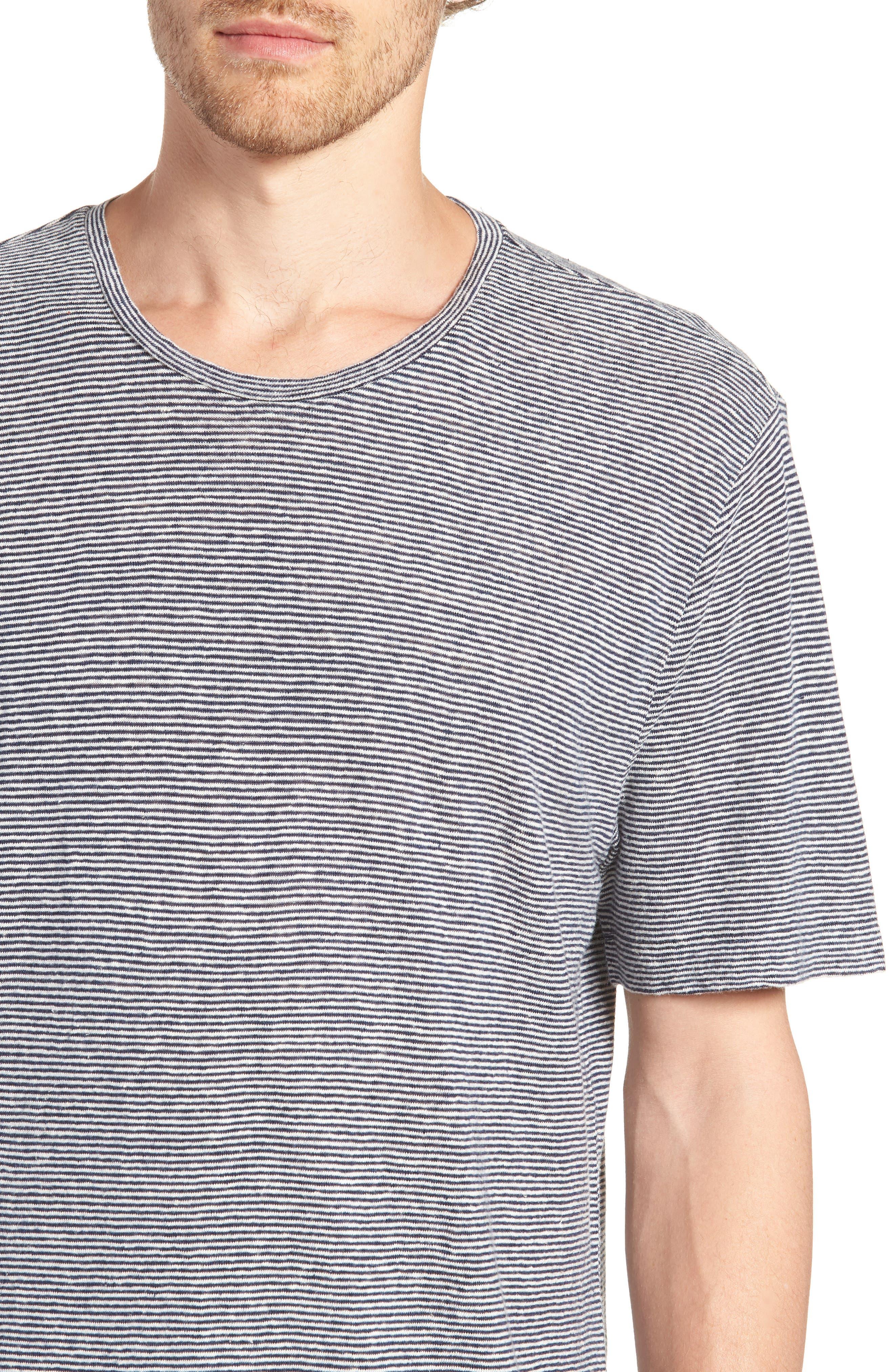 Feeder Stripe Linen Blend Jersey T-Shirt,                             Alternate thumbnail 4, color,                             Navy Iris White Stripe