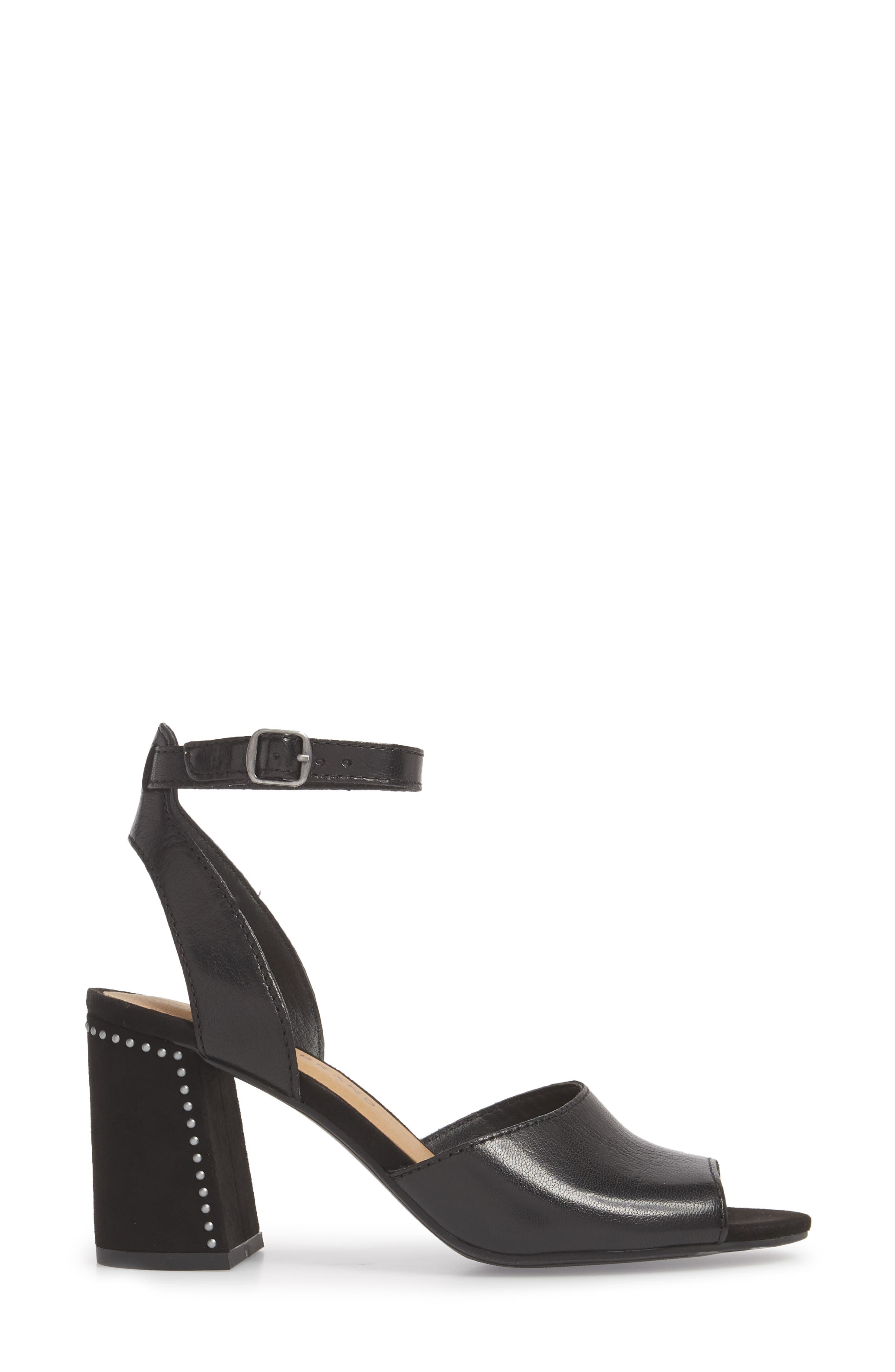 Verlena Sandal,                             Alternate thumbnail 3, color,                             Black Leather