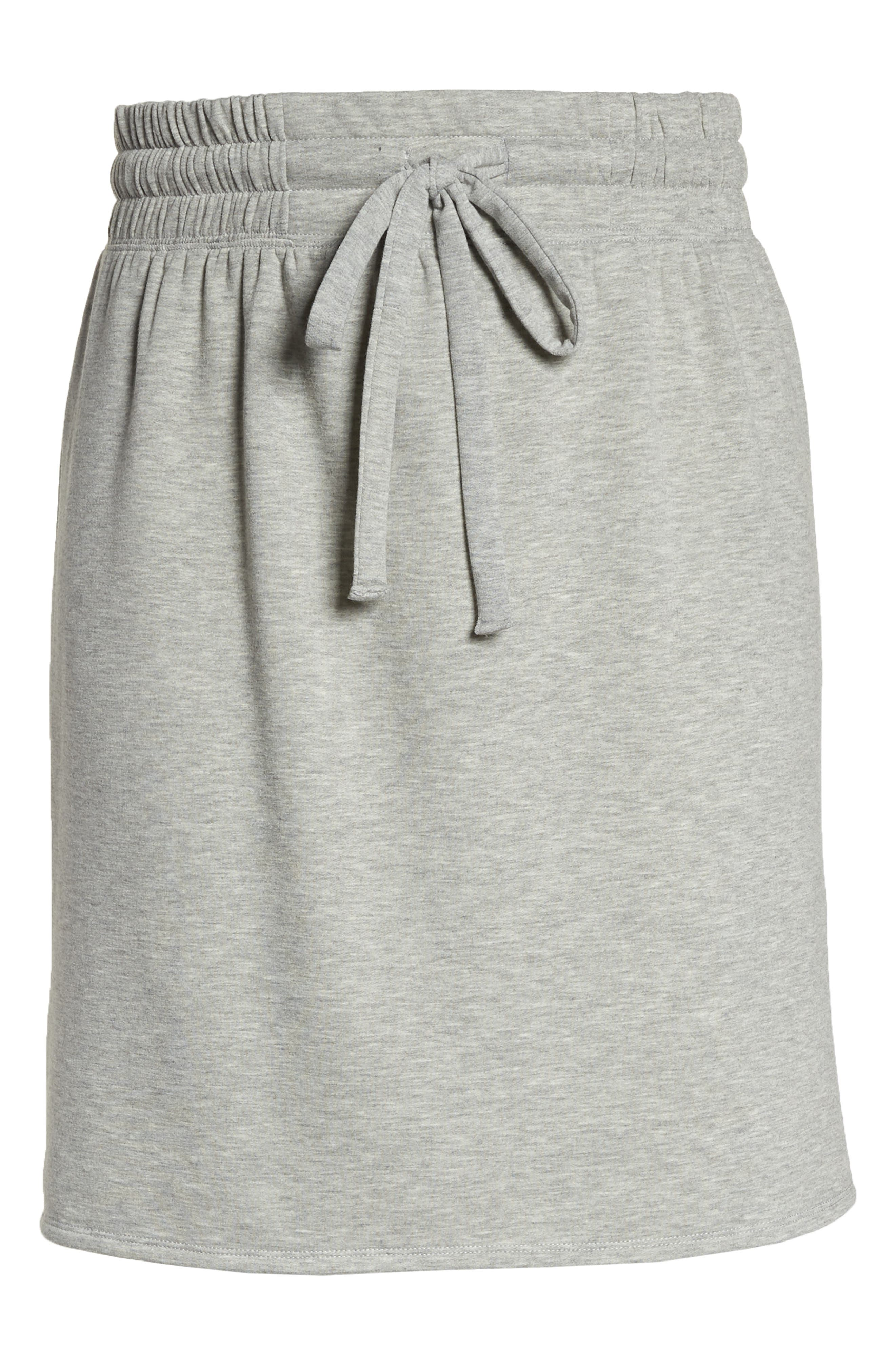 Off-Duty Tie Waist Miniskirt,                             Alternate thumbnail 6, color,                             Grey Heather