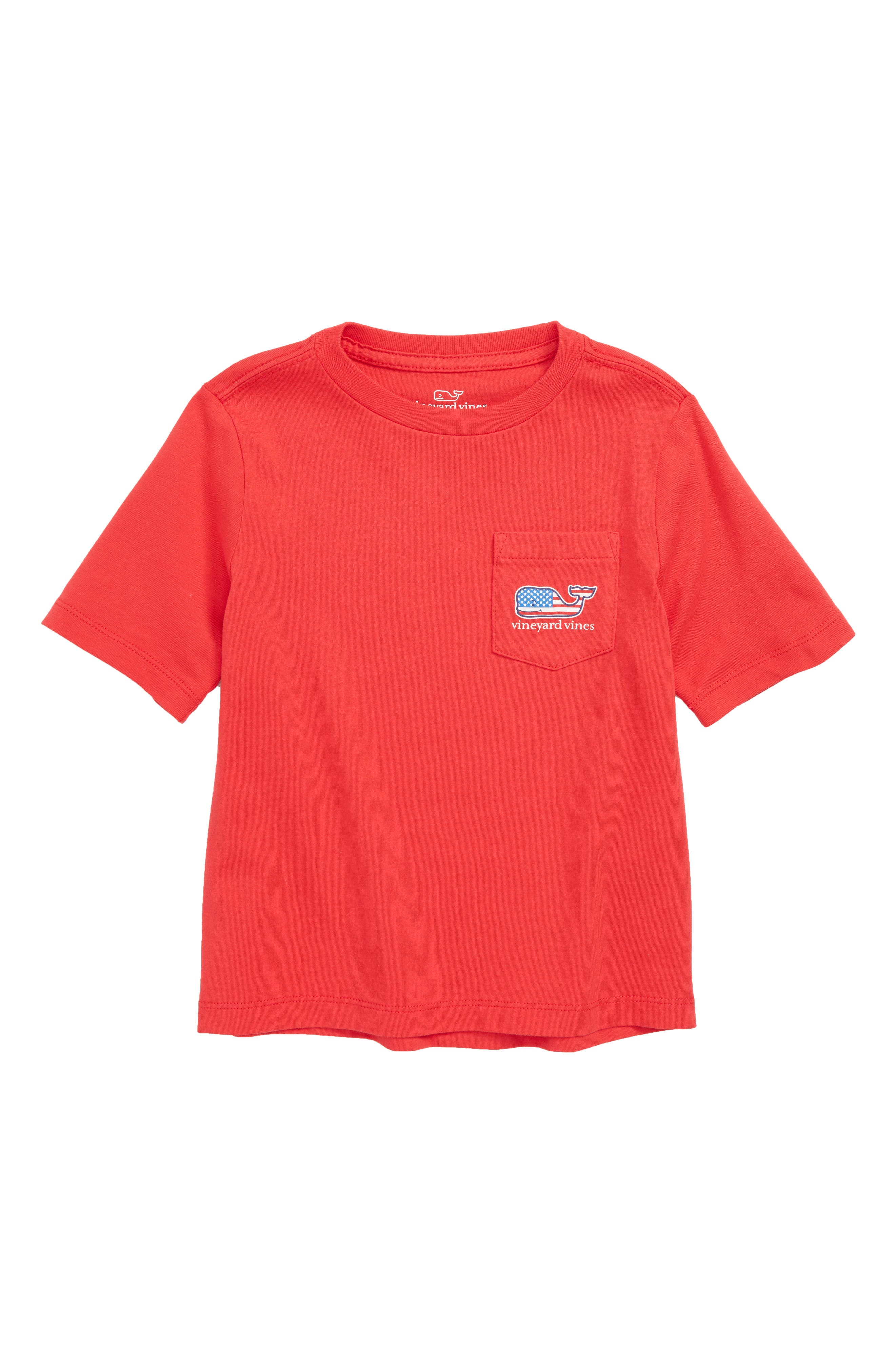 Flag Whale Pocket T-Shirt,                         Main,                         color, Lighthouse Red