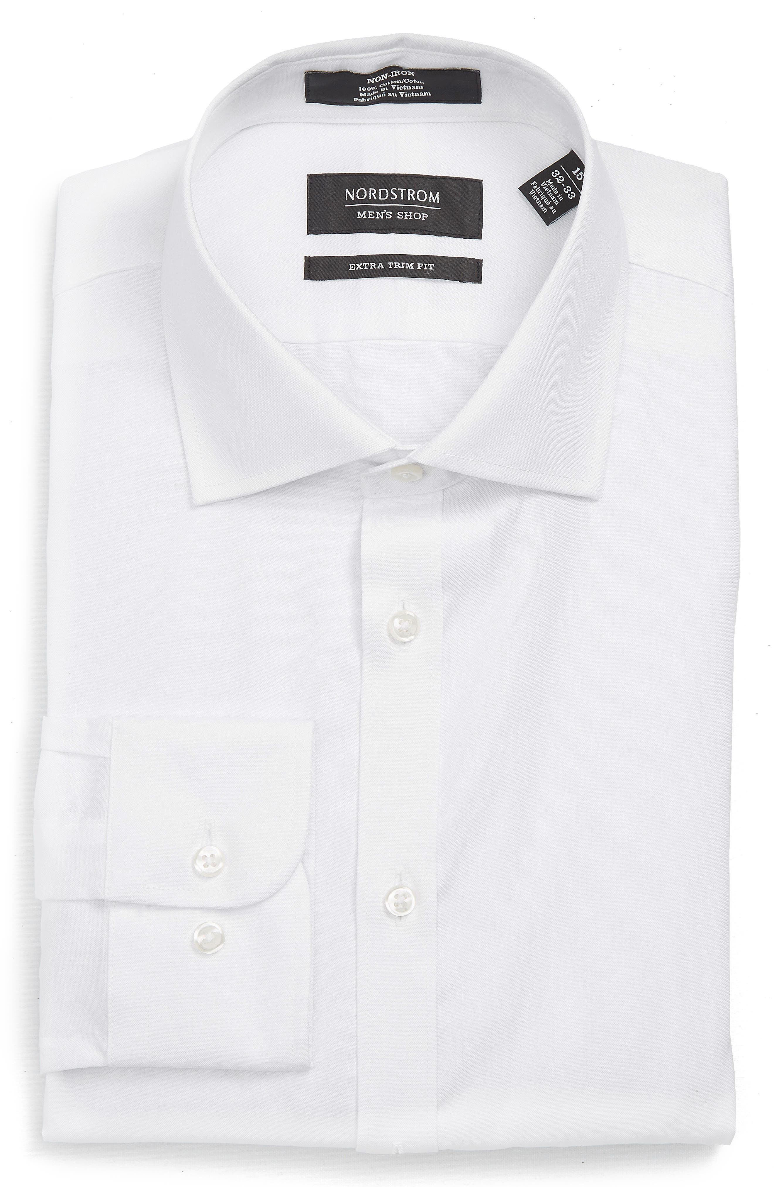 Extra Trim Fit Non-Iron Solid Dress Shirt,                             Alternate thumbnail 9, color,                             White