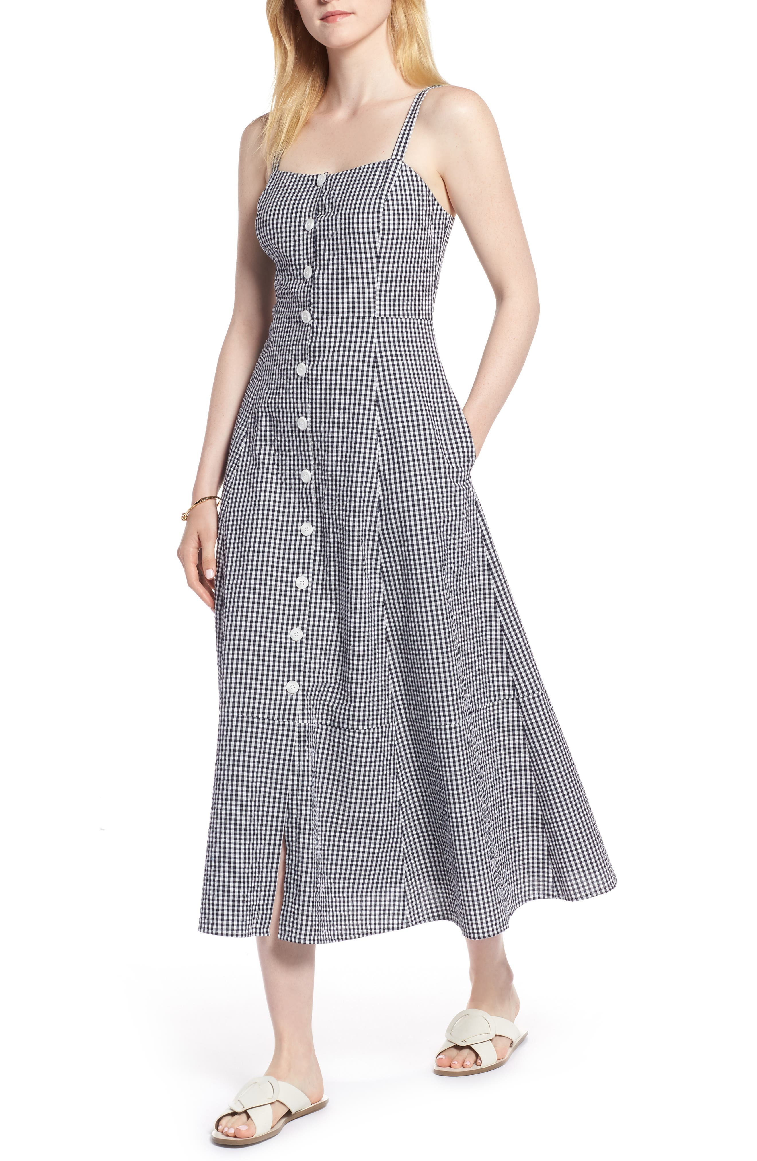 Gingham Button Front Cotton Blend Dress,                             Main thumbnail 1, color,                             Navy- White Gingham