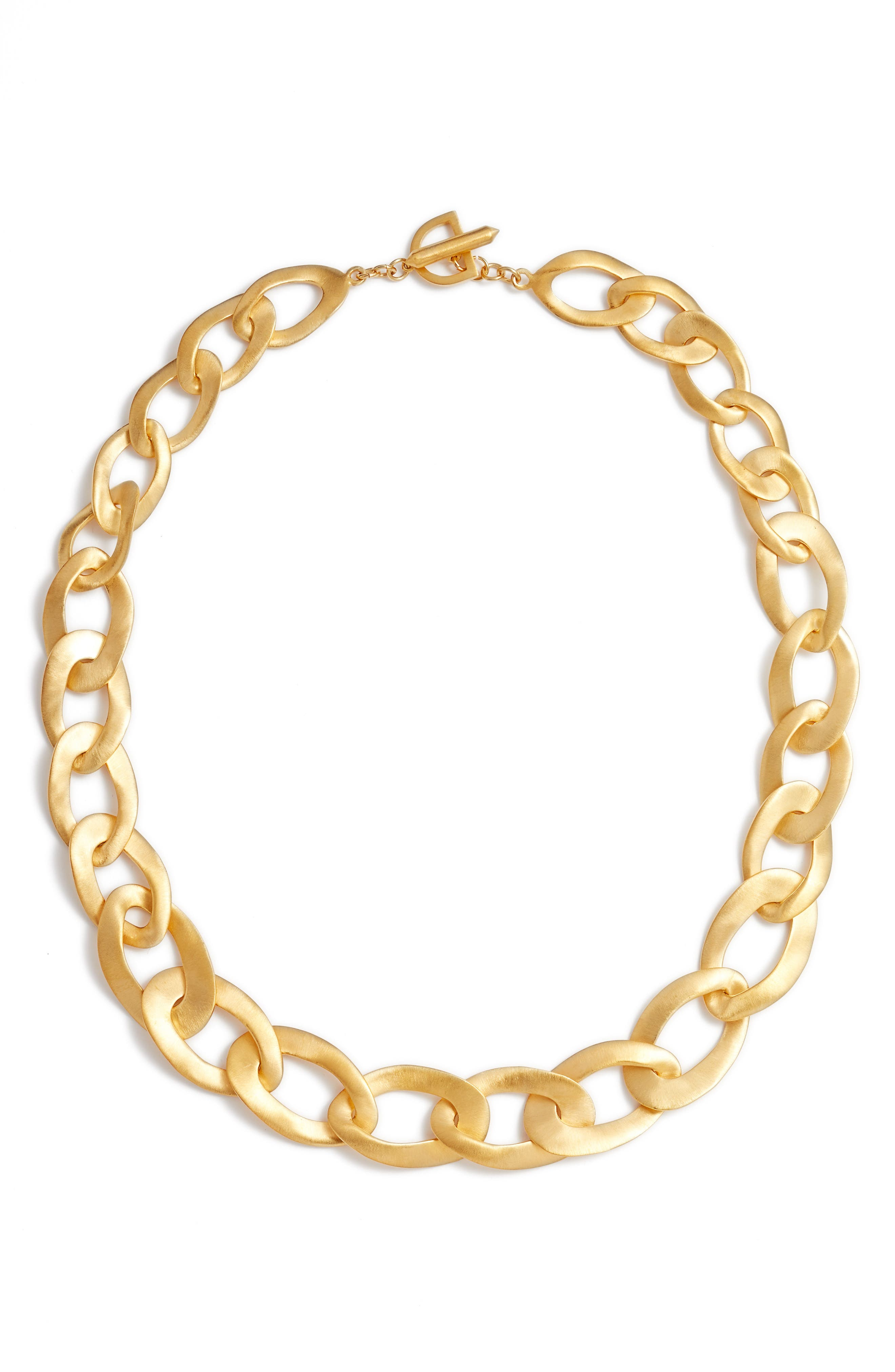 Carved Link Collar Necklace,                             Main thumbnail 1, color,                             Gold