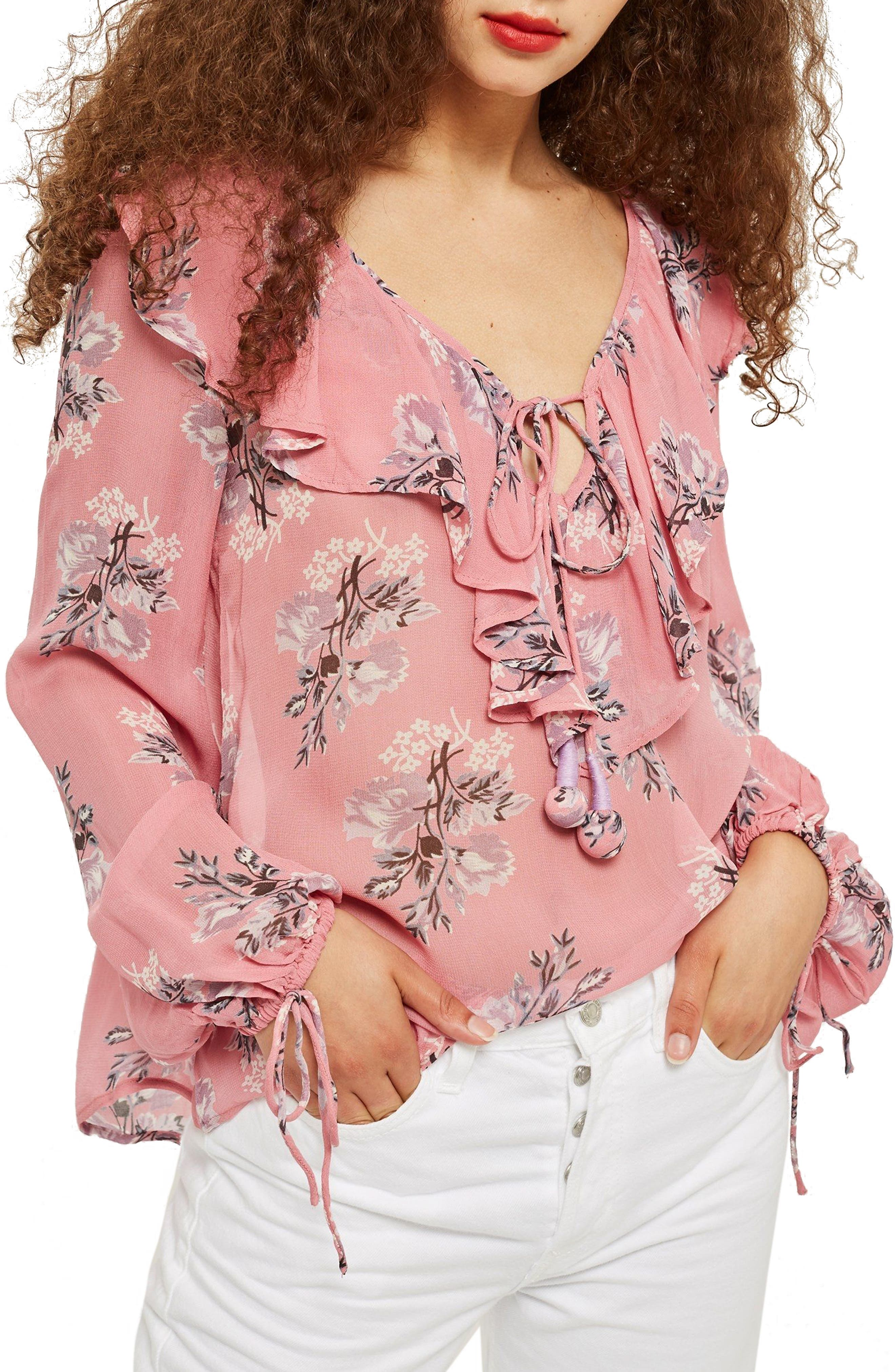 Floral Ruffle Pompom Blouse,                             Main thumbnail 1, color,                             Pink Multi