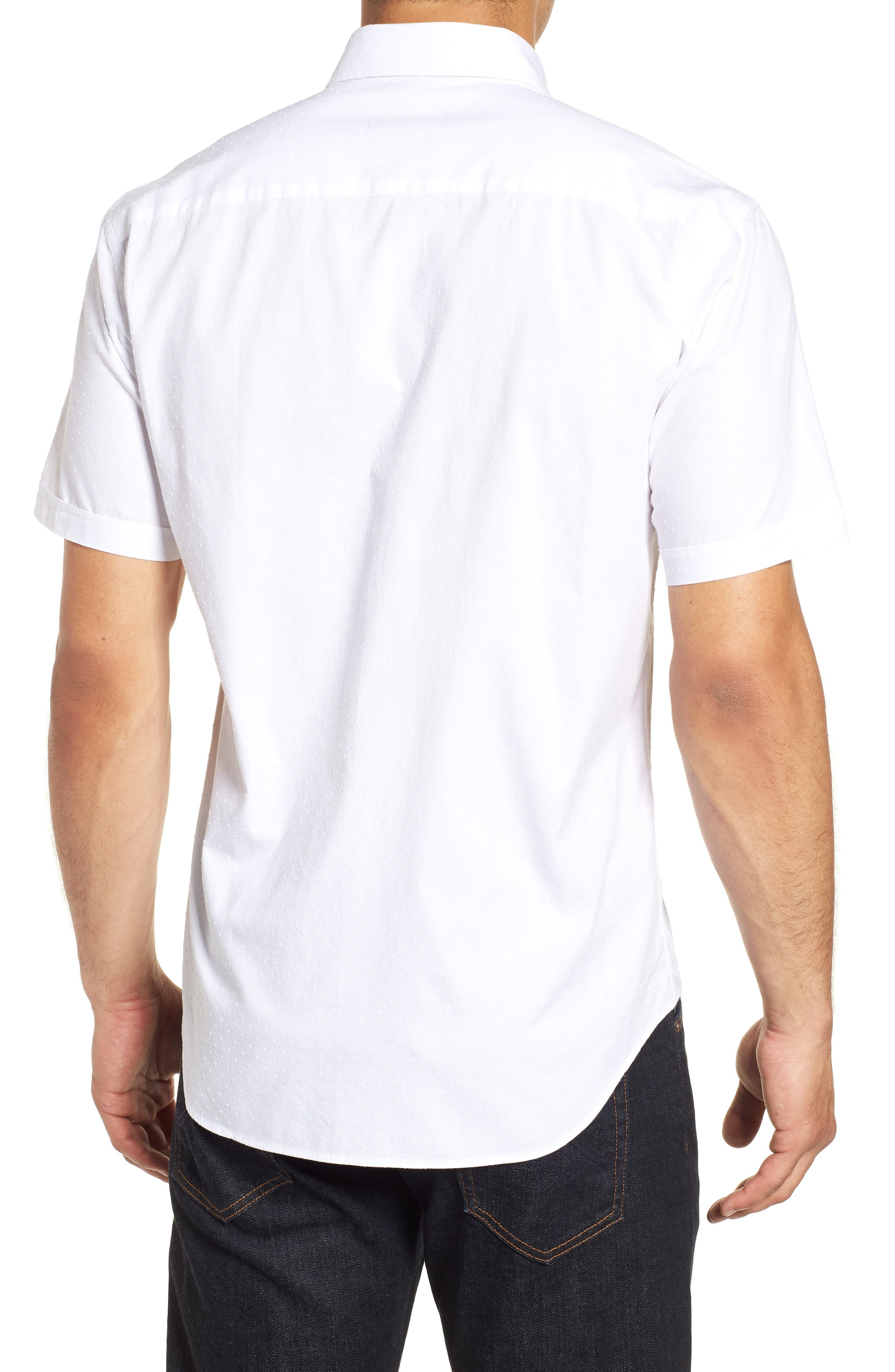 Shaped Fit Solid Sport Shirt,                             Alternate thumbnail 3, color,                             White