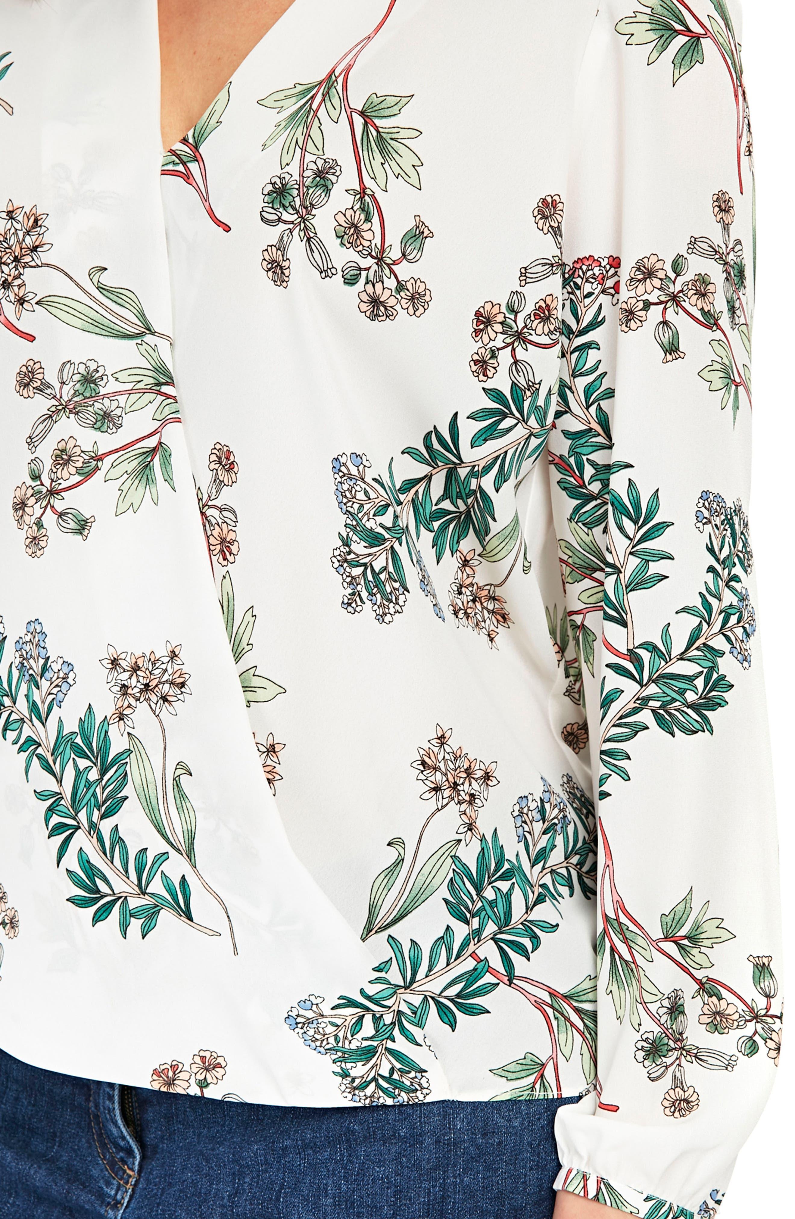 Floral Print Wrap Blouse,                             Alternate thumbnail 3, color,                             Ivory