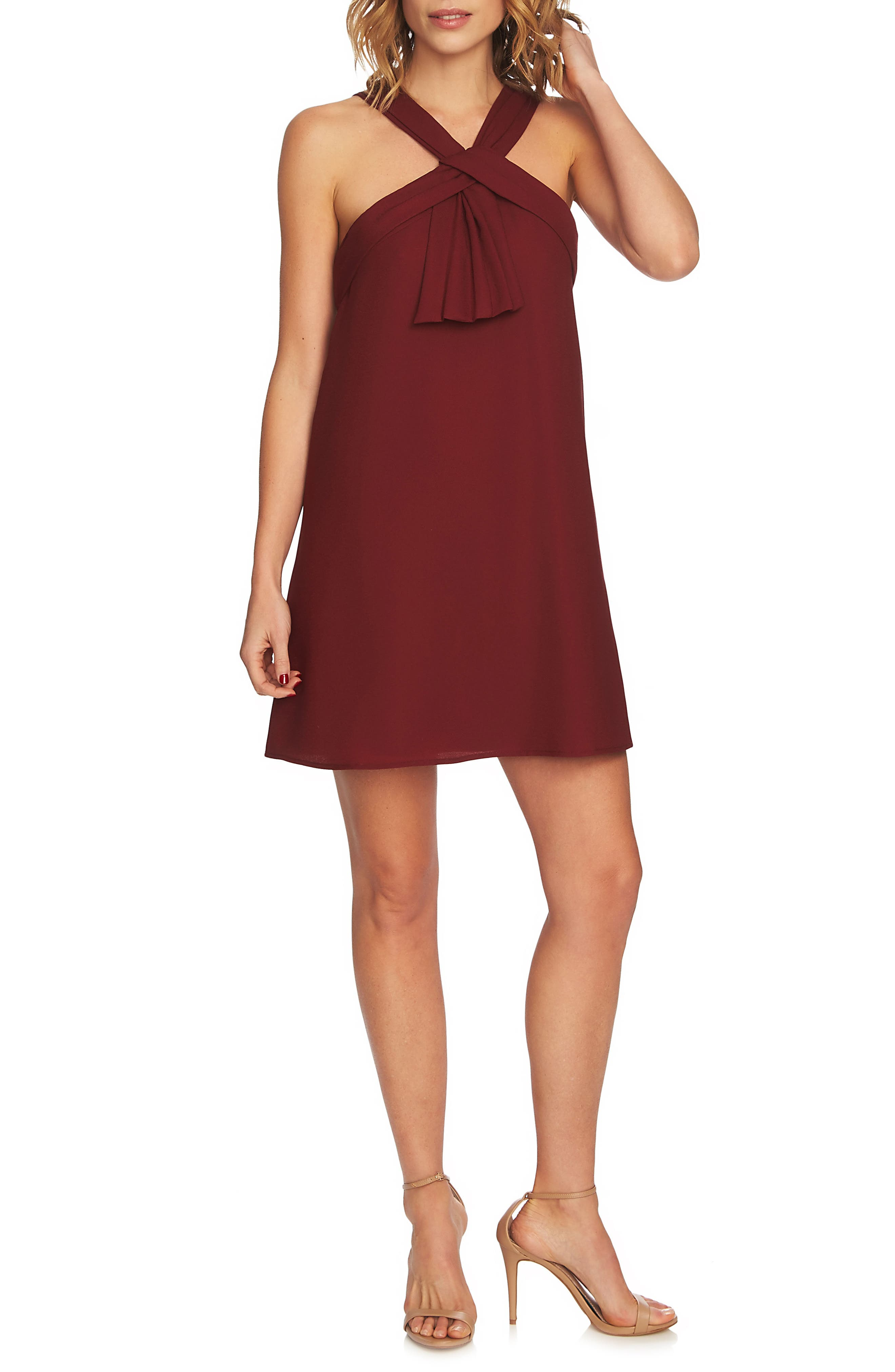 Briana Pleat Front Shift Dress,                         Main,                         color, Cherry Wine