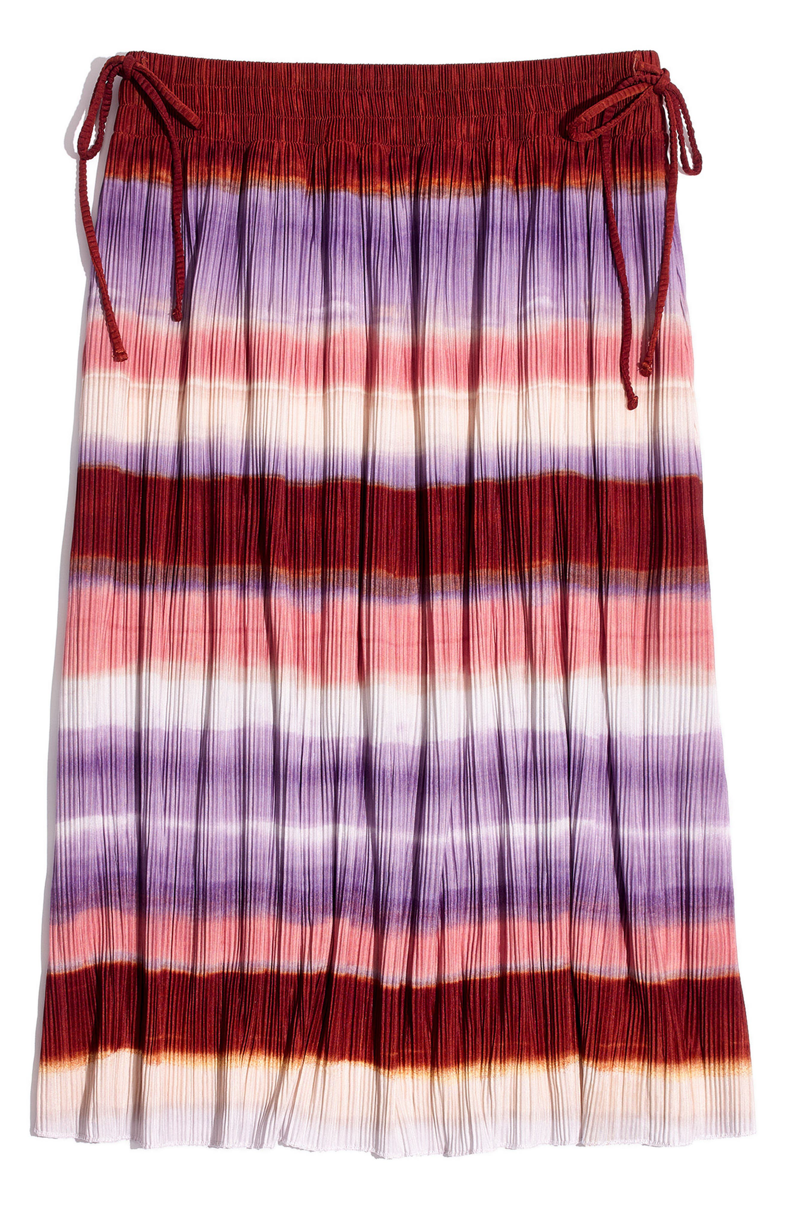 Texture & Thread Ombré Rainbow Micropleat Midi Skirt,                             Alternate thumbnail 4, color,                             Clementine Cream