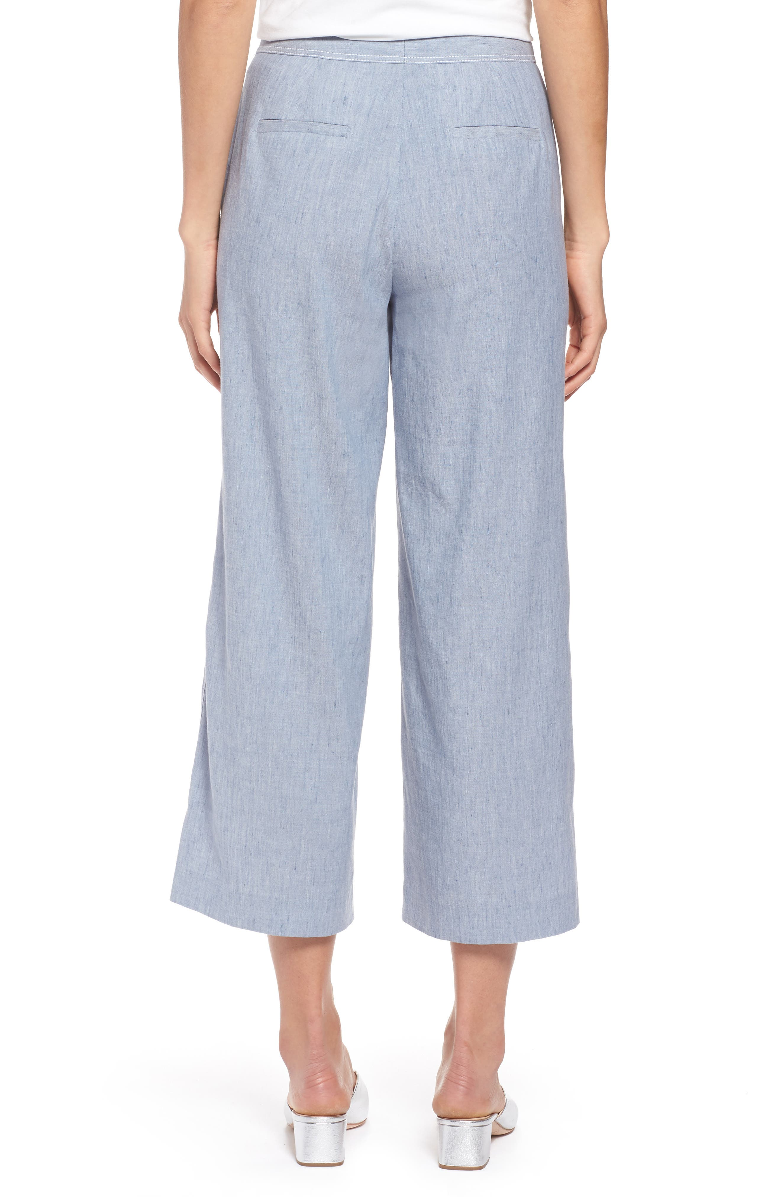 Wide Leg Linen Blend Pants,                             Alternate thumbnail 2, color,                             Chambray