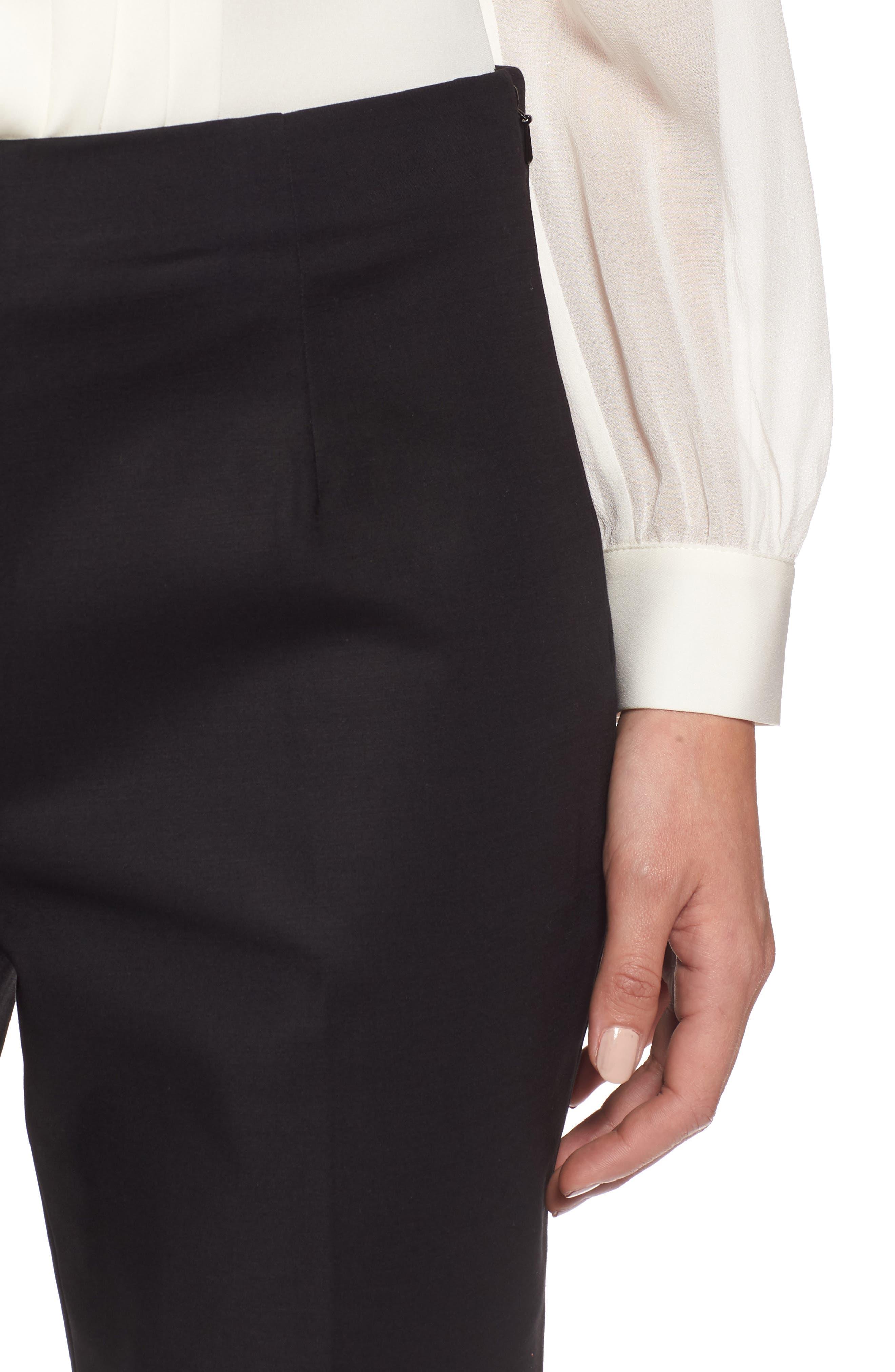 Perfect Side Zip Crop Pants,                             Alternate thumbnail 4, color,                             Black Onyx