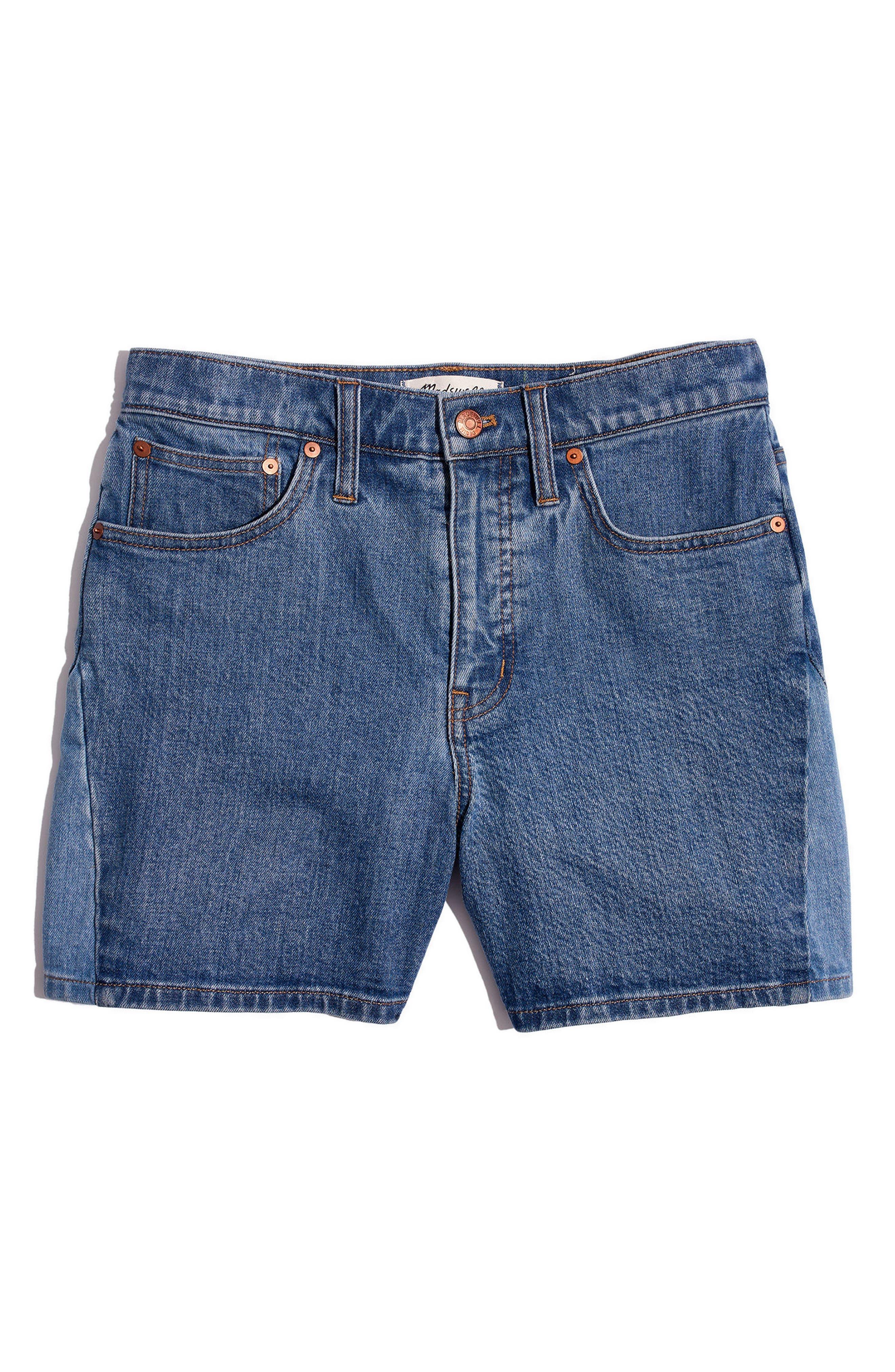 High Waist Pieced Denim Shorts,                             Alternate thumbnail 4, color,                             Wylie