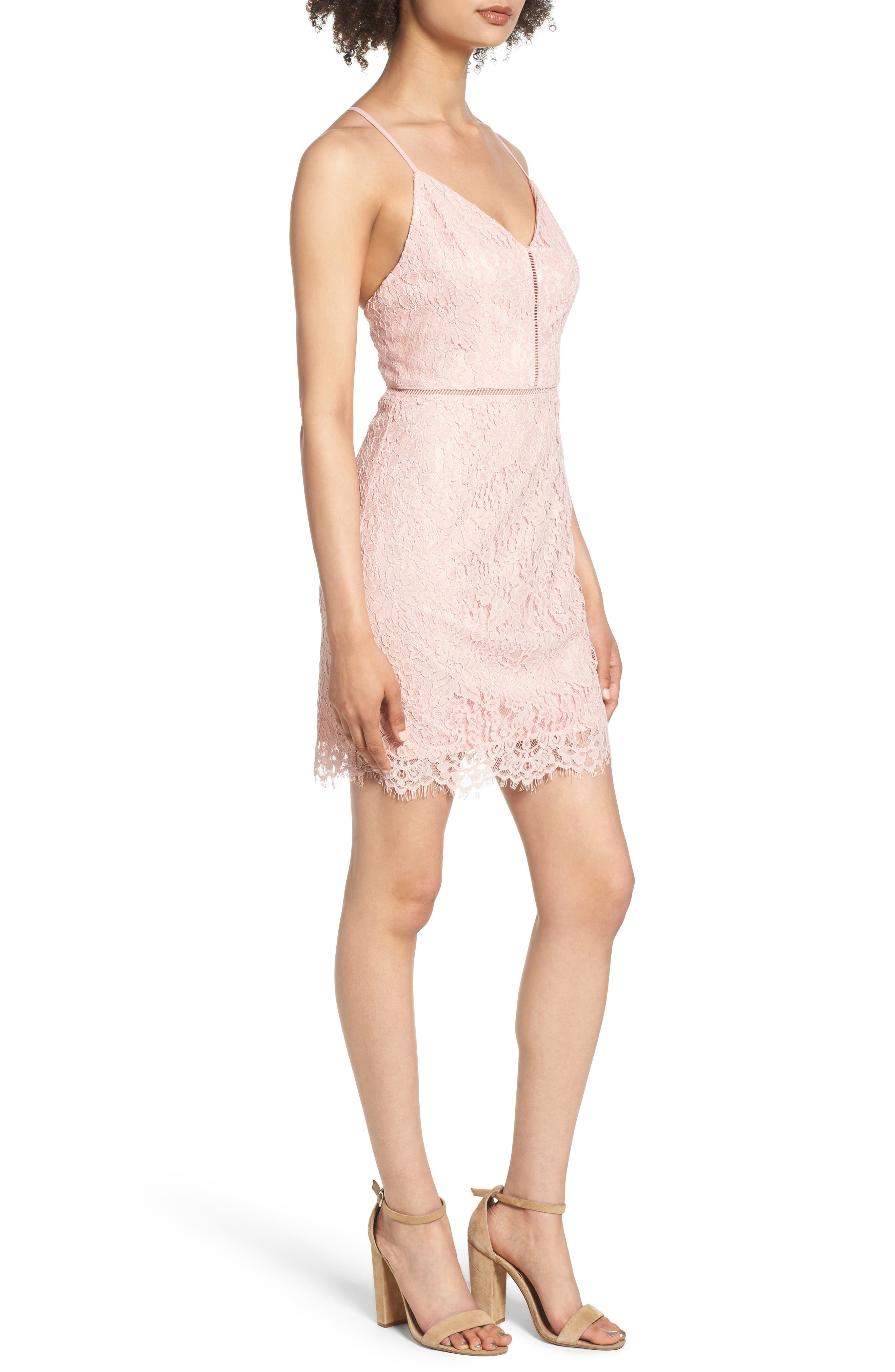 Lattice Lace Body-Con Dress,                             Alternate thumbnail 3, color,                             Pink Silver