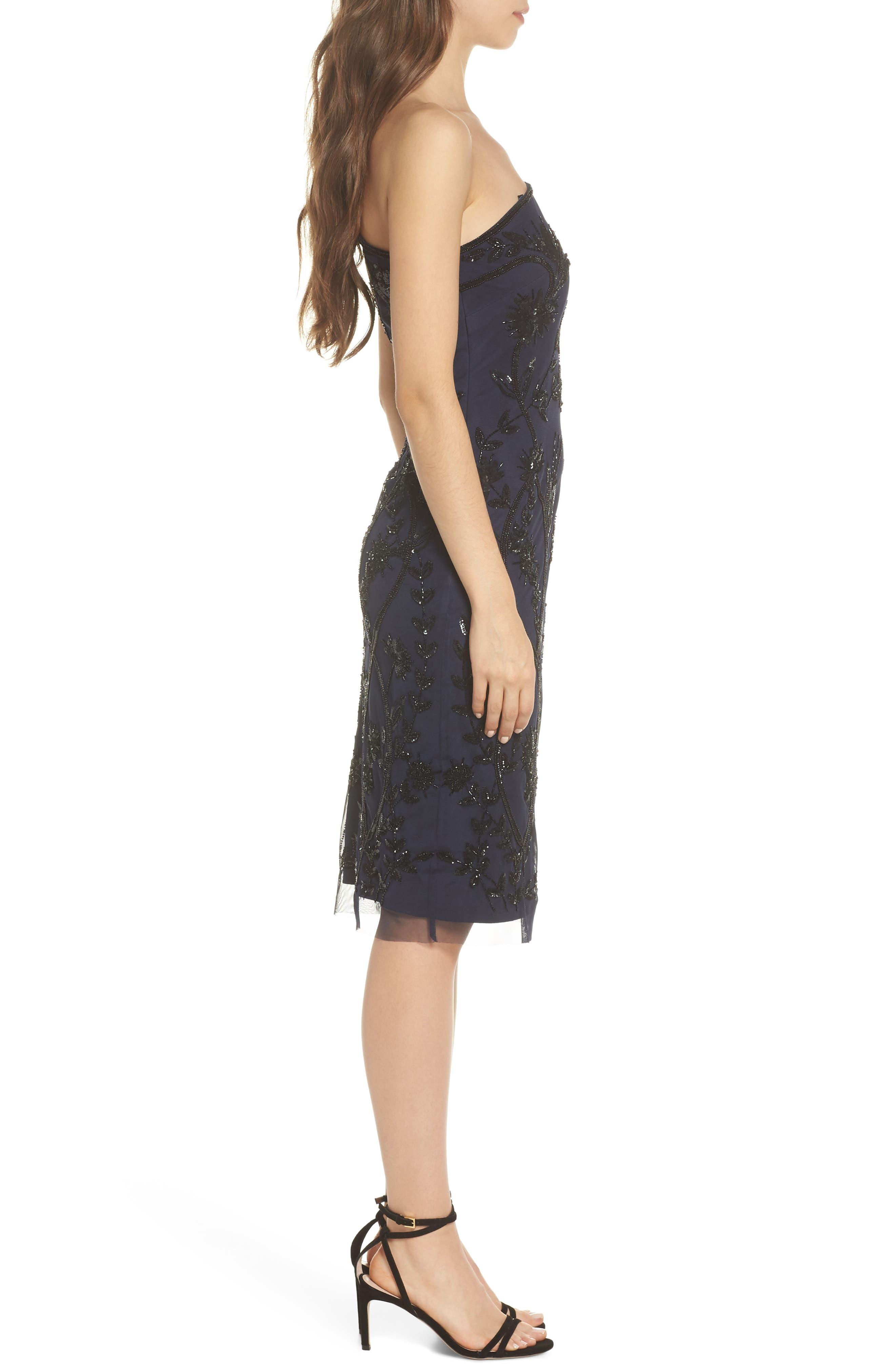 Beaded Sheath Dress,                             Alternate thumbnail 3, color,                             Navy/ Black