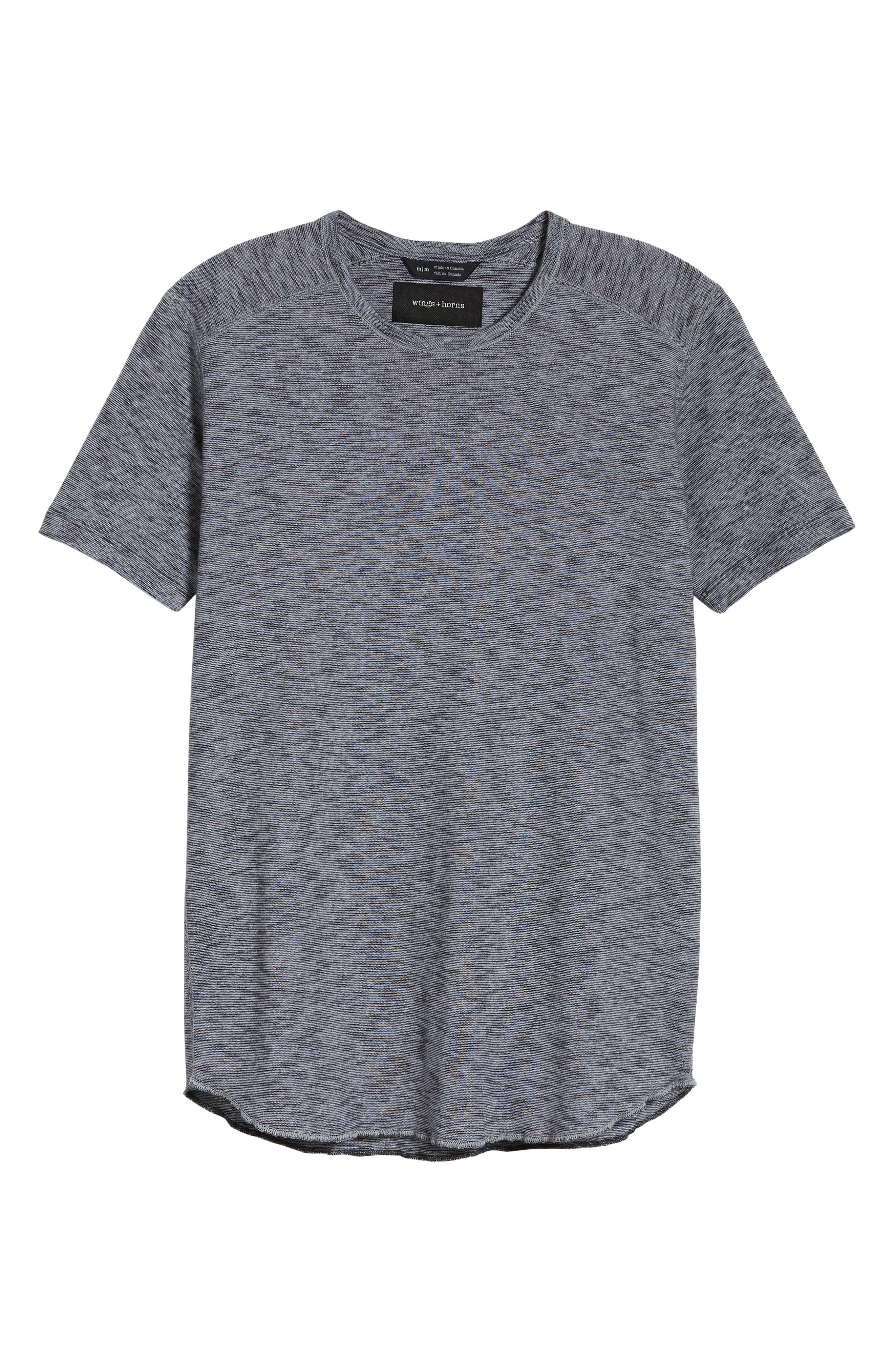 Ribbed Slub Cotton T-Shirt,                             Alternate thumbnail 6, color,                             Feeder Stripe Grey