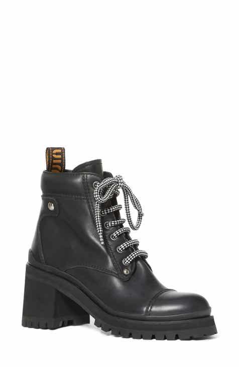 Miu Miu Lugged Sole Combat Boot (Women) 09a194d66c
