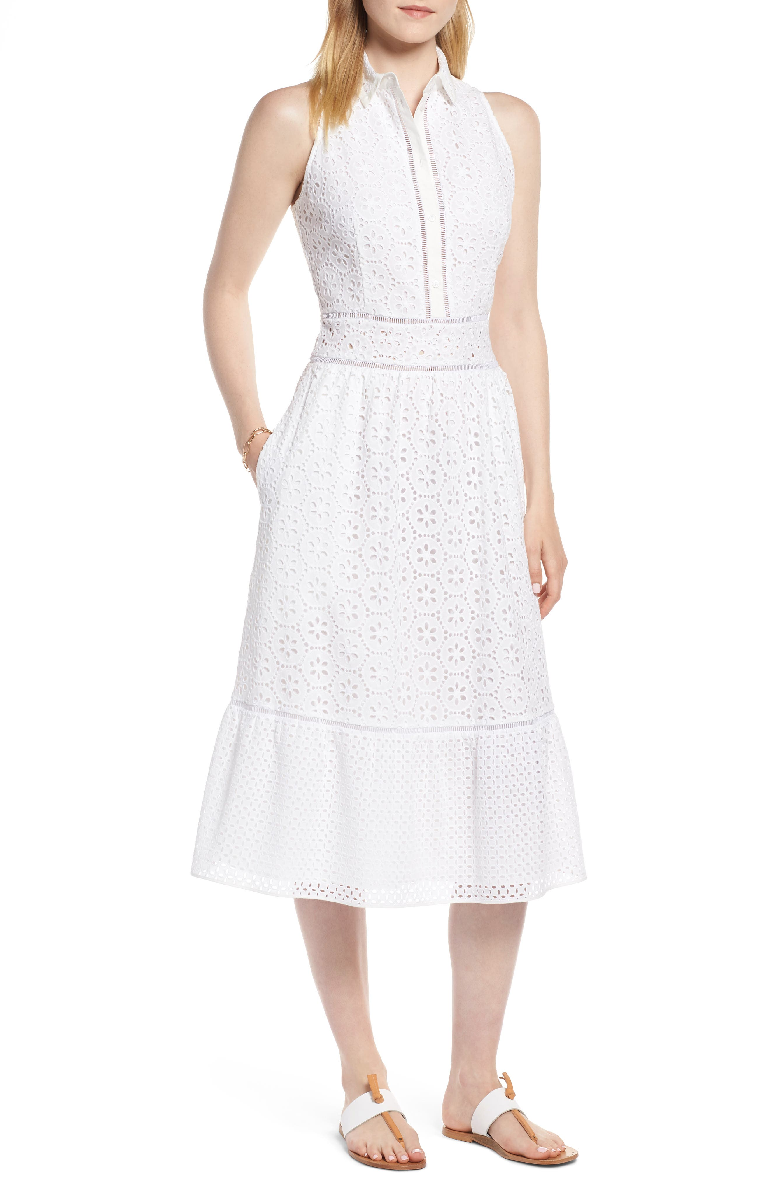 Cotton Eyelet Sleeveless Shirtdress,                         Main,                         color, White
