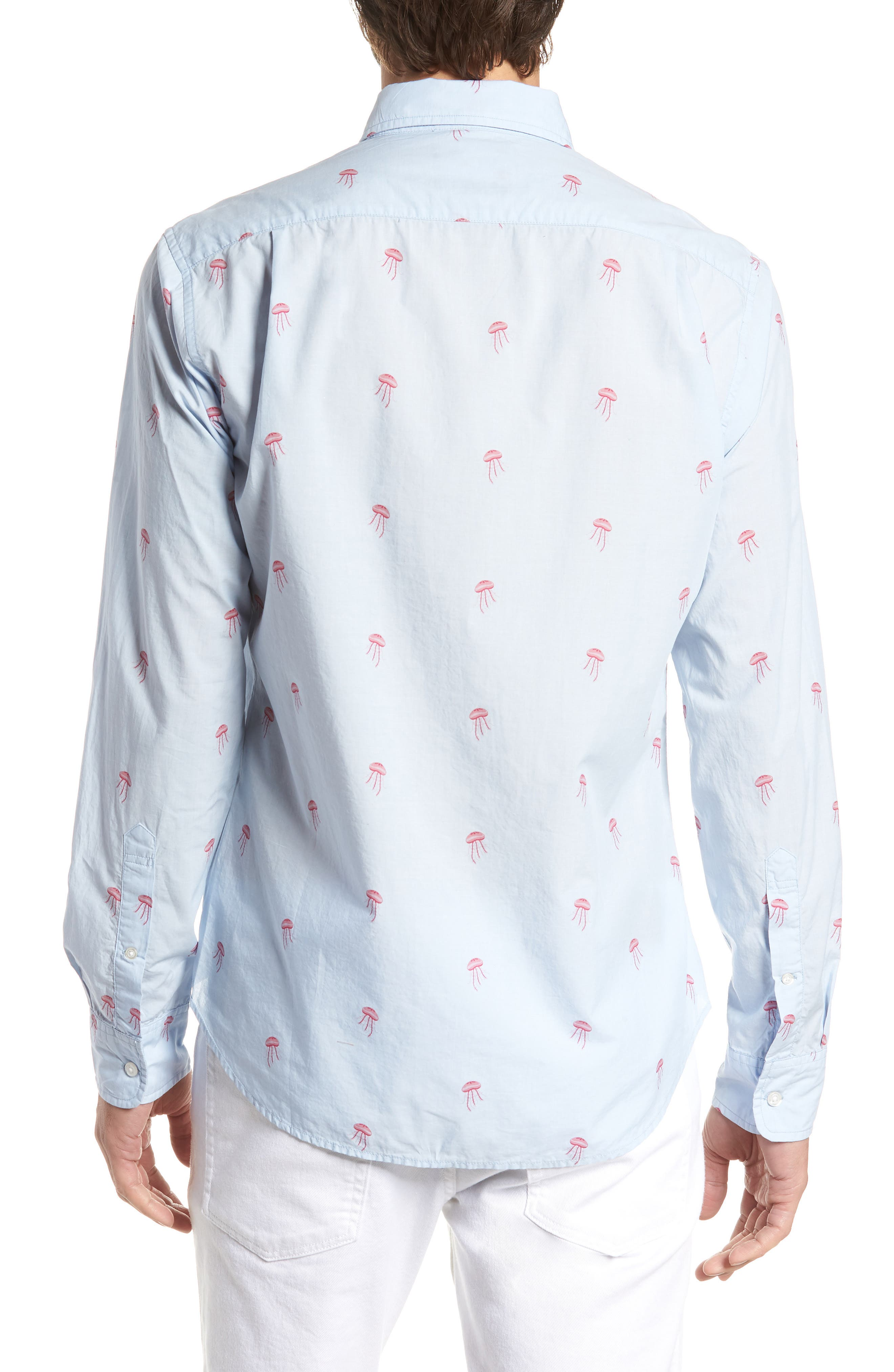 Summerweight Slim Fit Jellyfish Print Sport Shirt,                             Alternate thumbnail 3, color,                             Little Jelly - Peony Coral