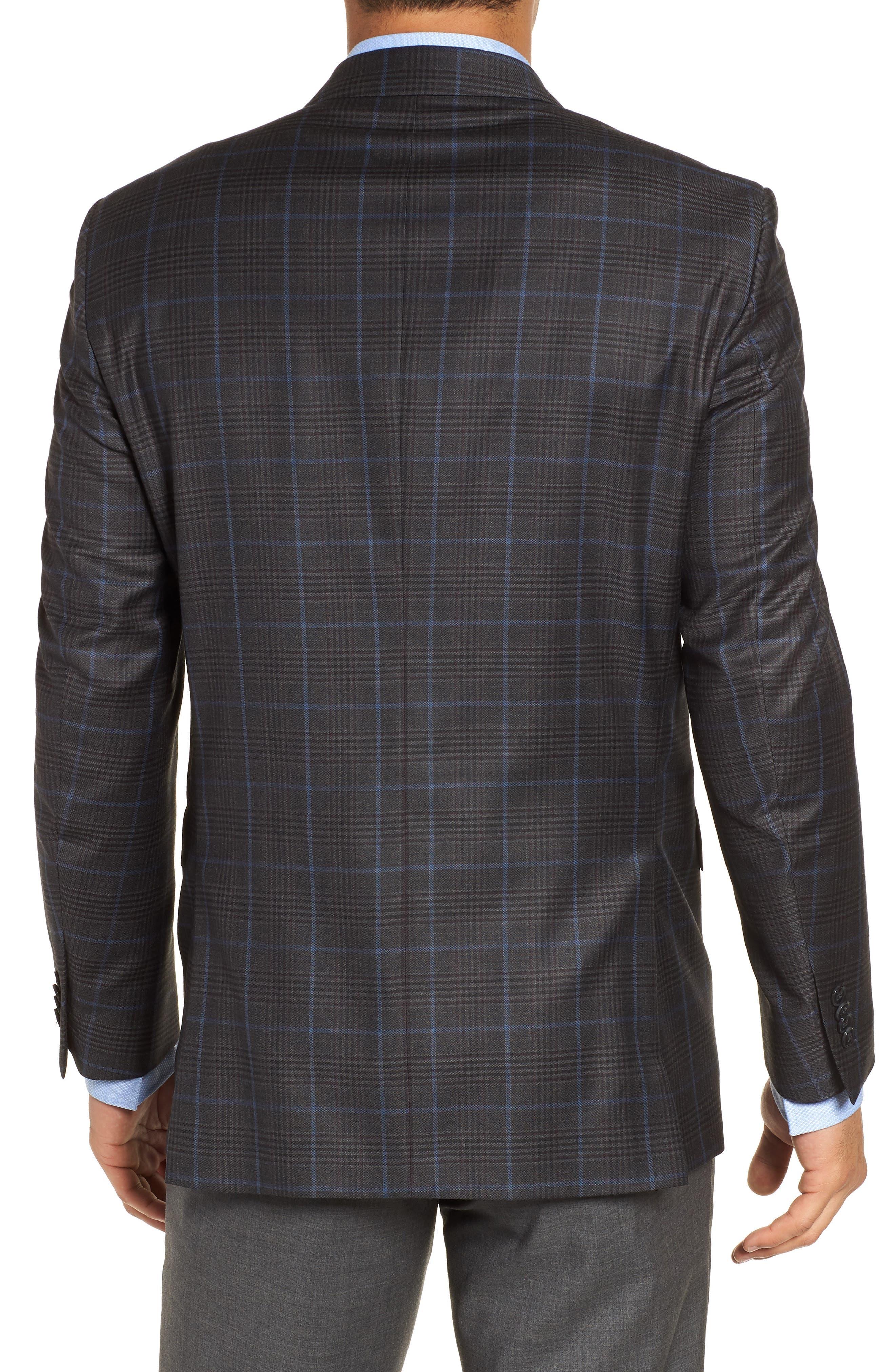 Hyperlight Classic Fit Plaid Wool Sport Coat,                             Alternate thumbnail 2, color,                             Grey