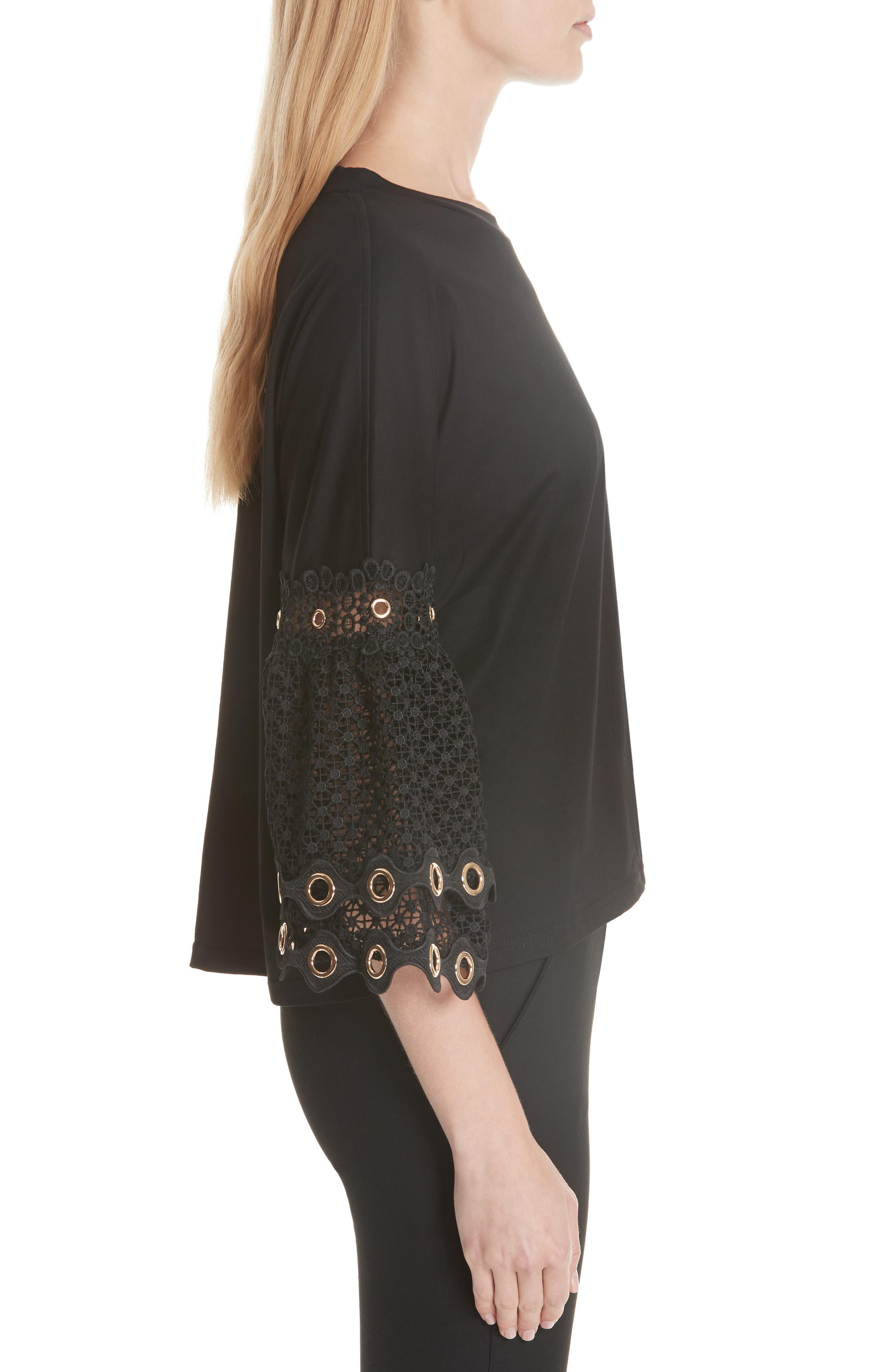 Lace Sleeve Top,                             Alternate thumbnail 3, color,                             Black