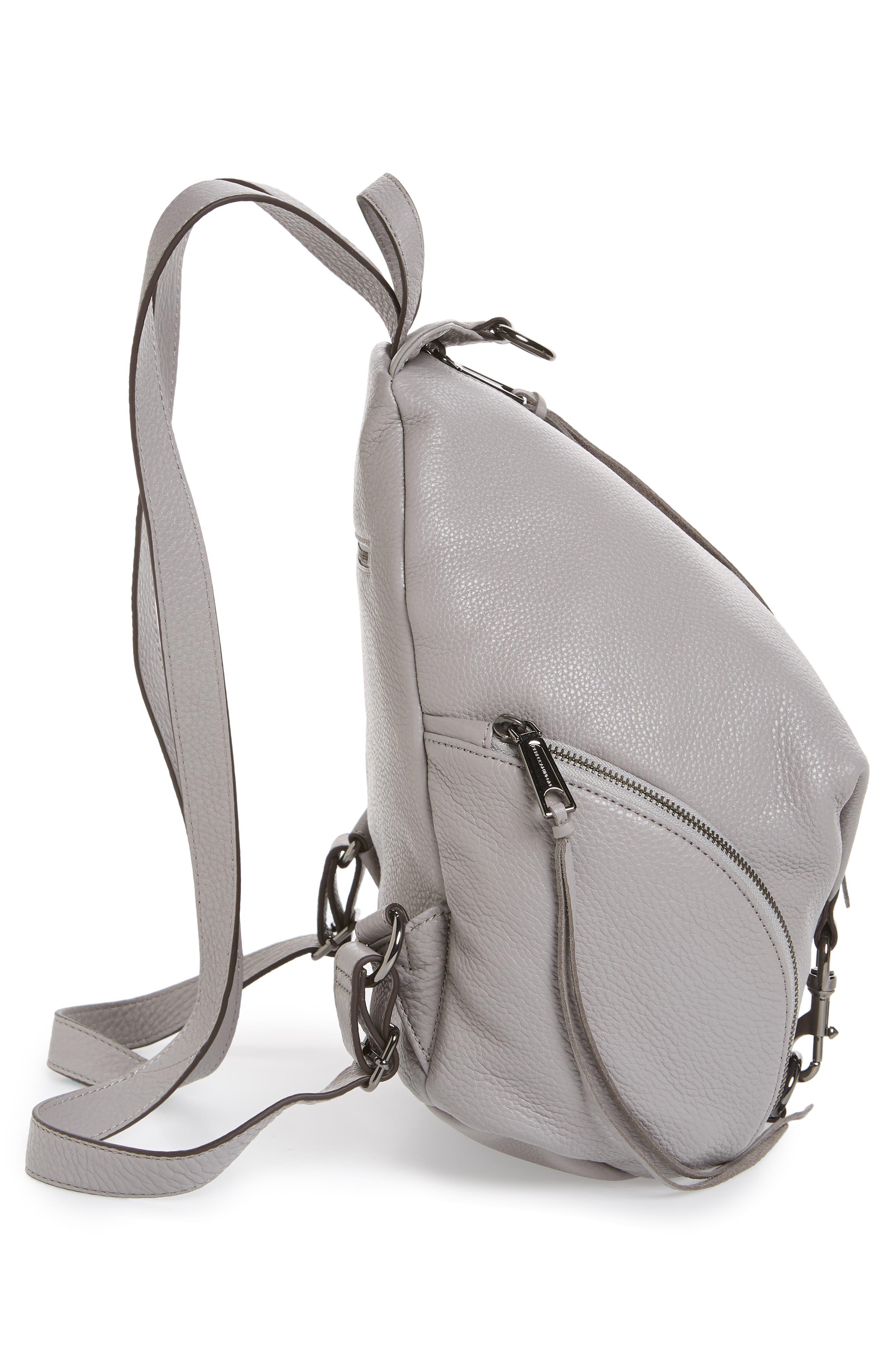 Julian Pebbled Leather Backpack,                             Alternate thumbnail 5, color,                             Grey