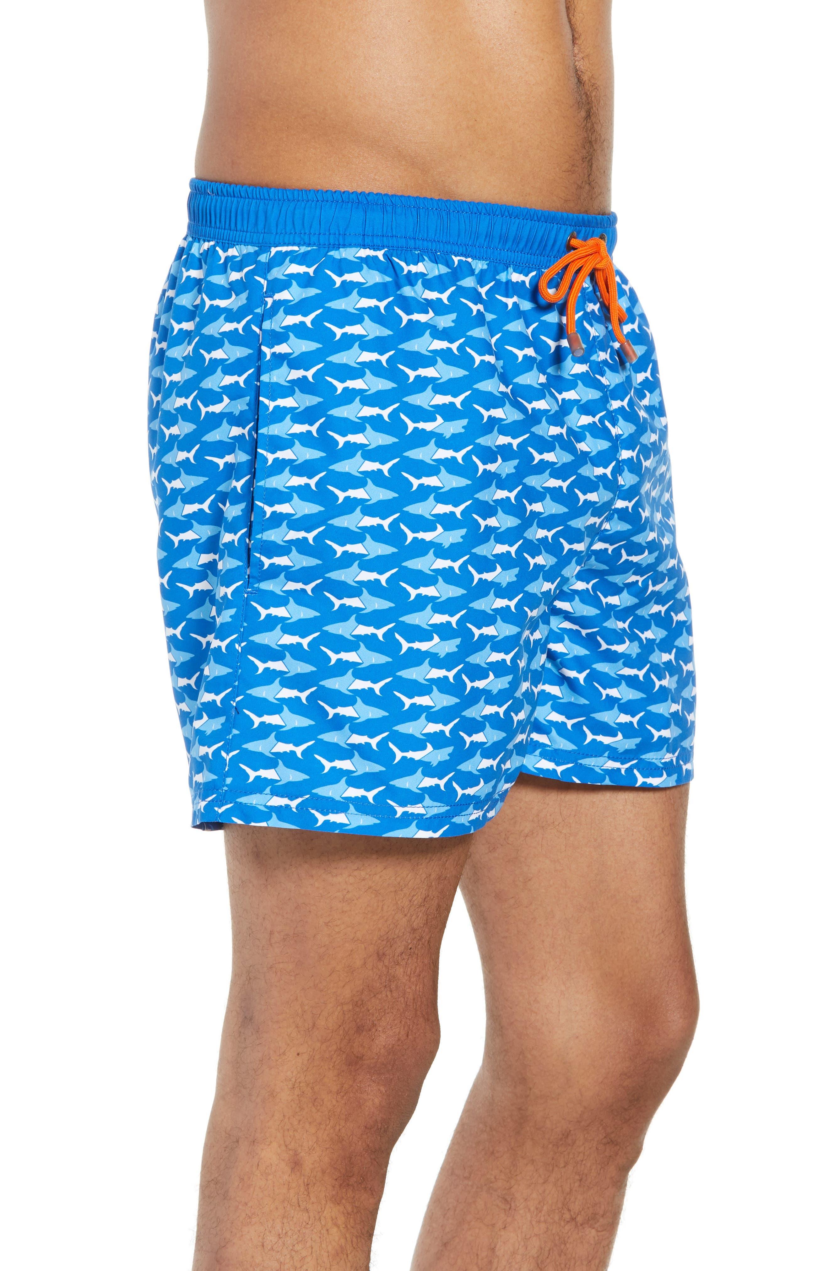 Piranha Shark Swim Trunks,                             Alternate thumbnail 3, color,                             Blue