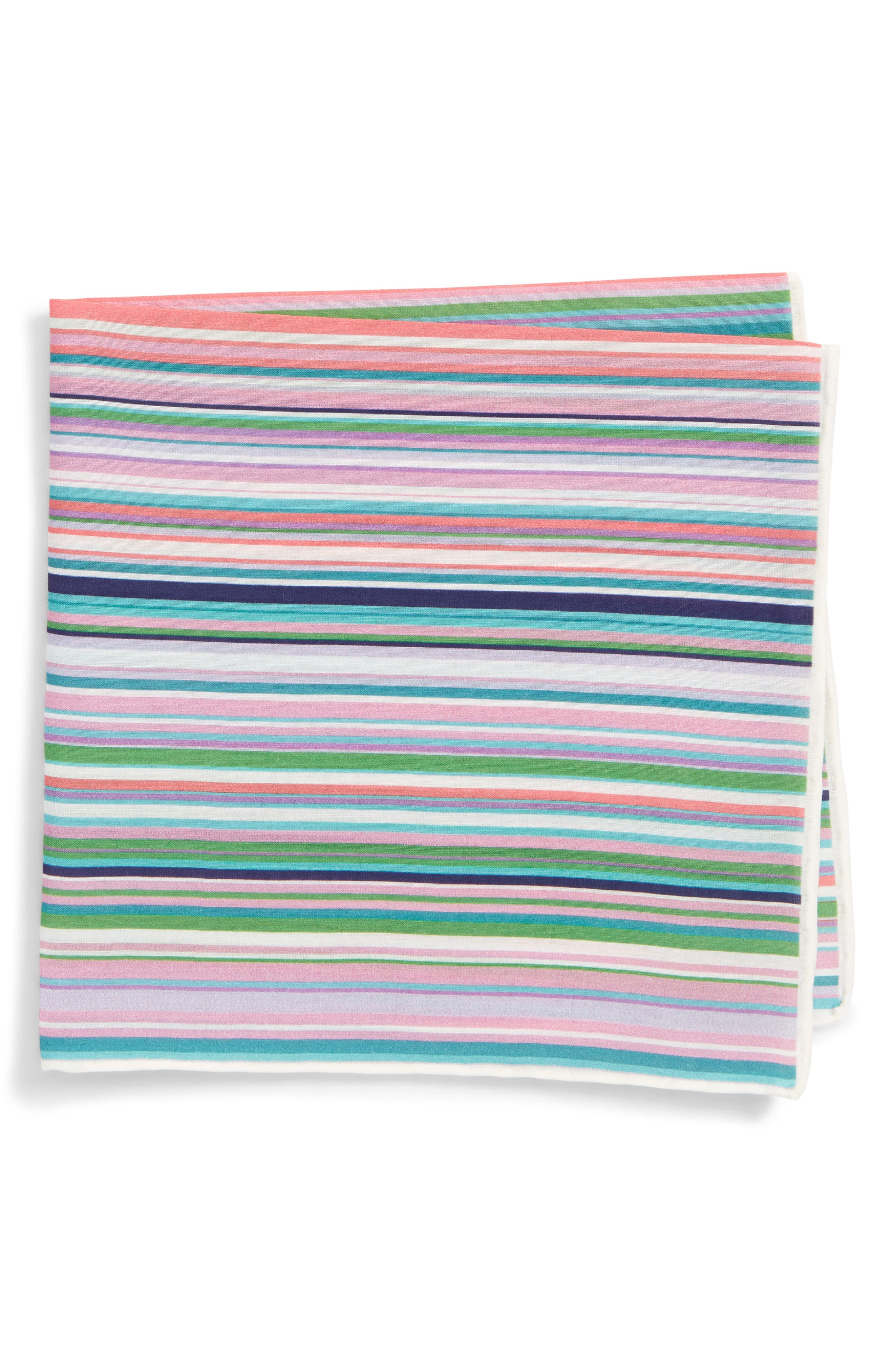 Savannah Stripe Cotton & Silk Pocket Square,                         Main,                         color, Green