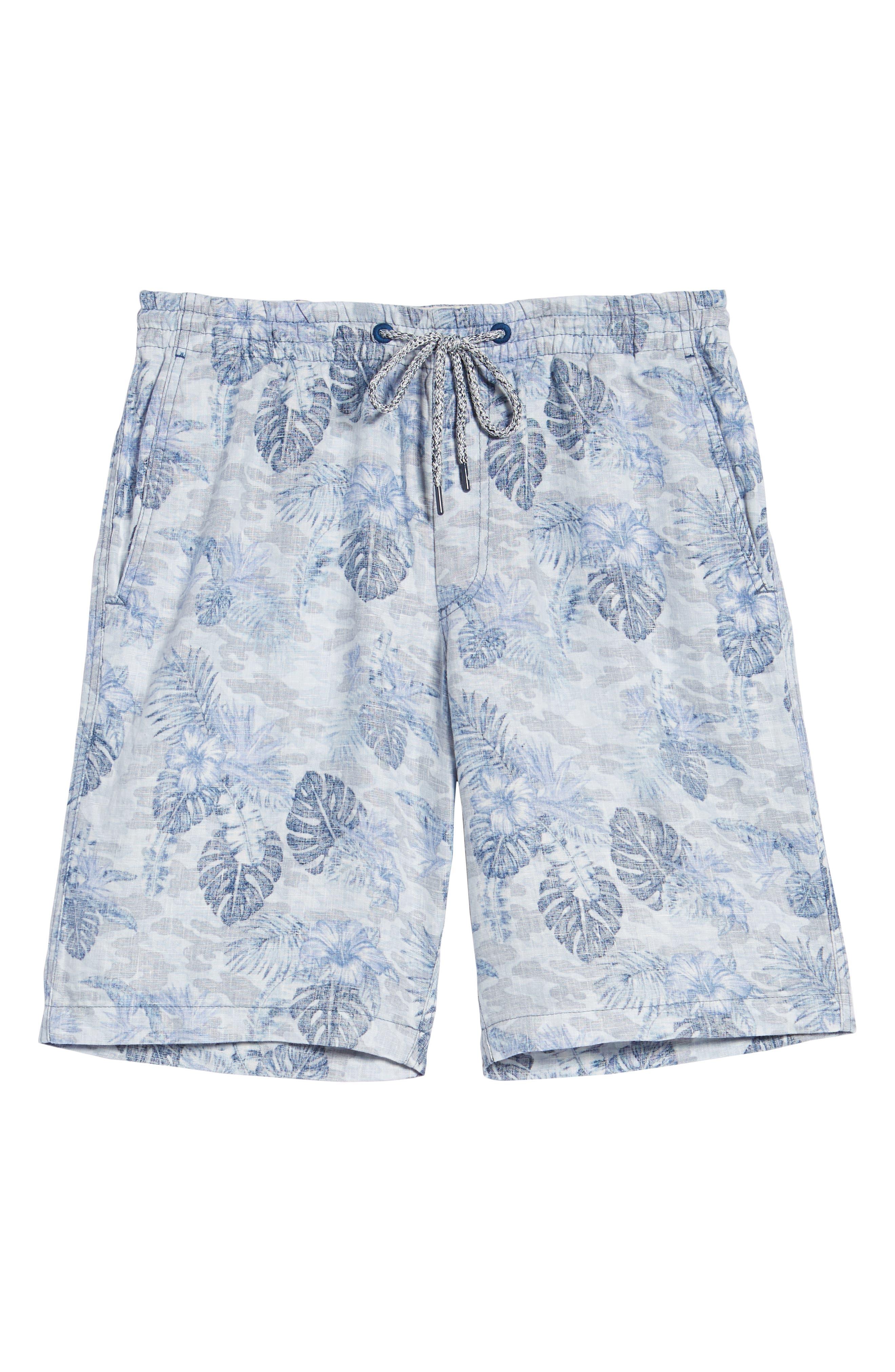 Tidal Palms Linen Shorts,                             Alternate thumbnail 6, color,                             Med Sky Blue