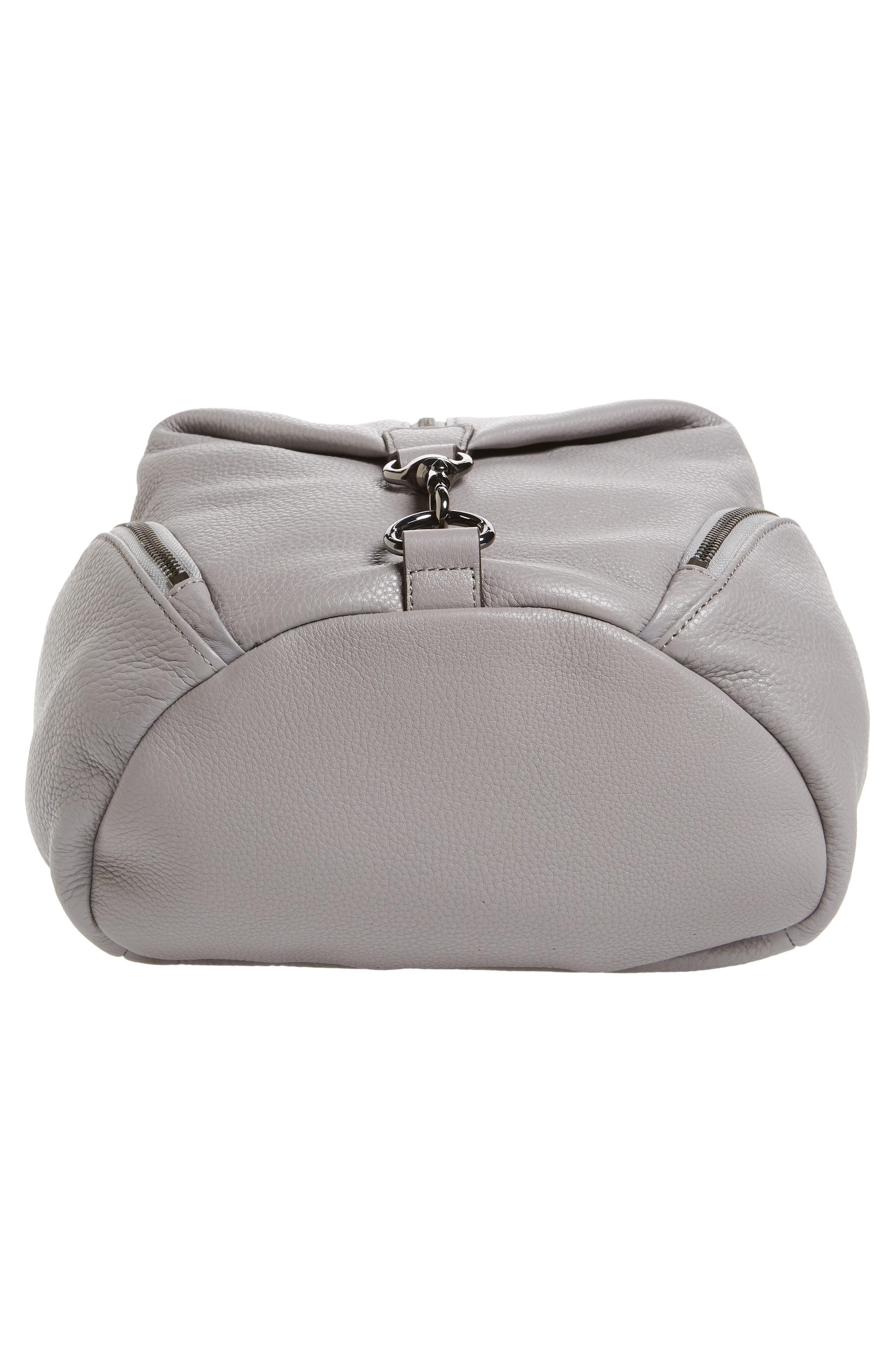 Julian Pebbled Leather Backpack,                             Alternate thumbnail 6, color,                             Grey