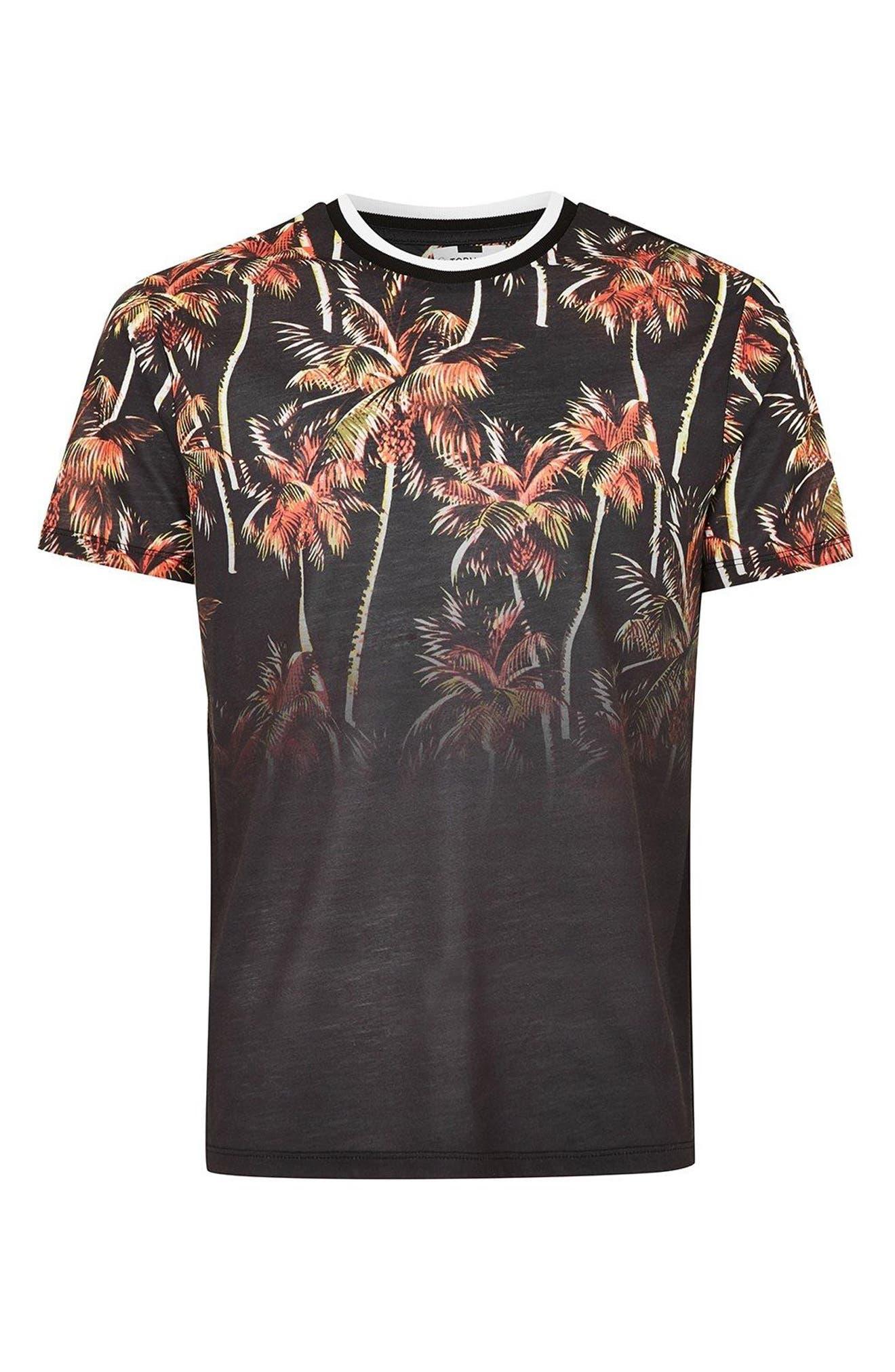 Palm Tree Print T-Shirt,                             Alternate thumbnail 3, color,                             Black Multi
