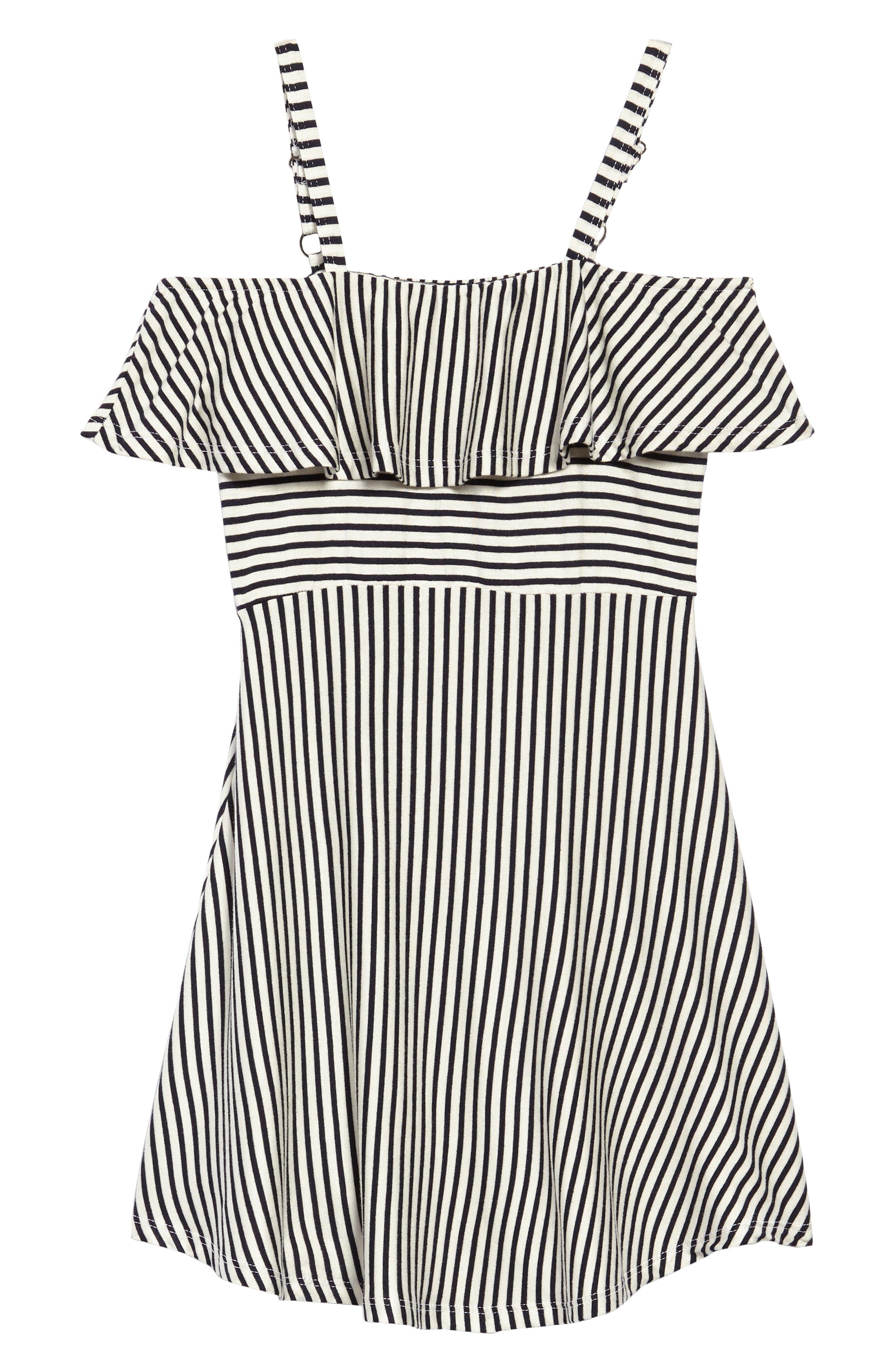 Stripe Cold Shoulder Dress,                             Main thumbnail 1, color,                             Black/ White