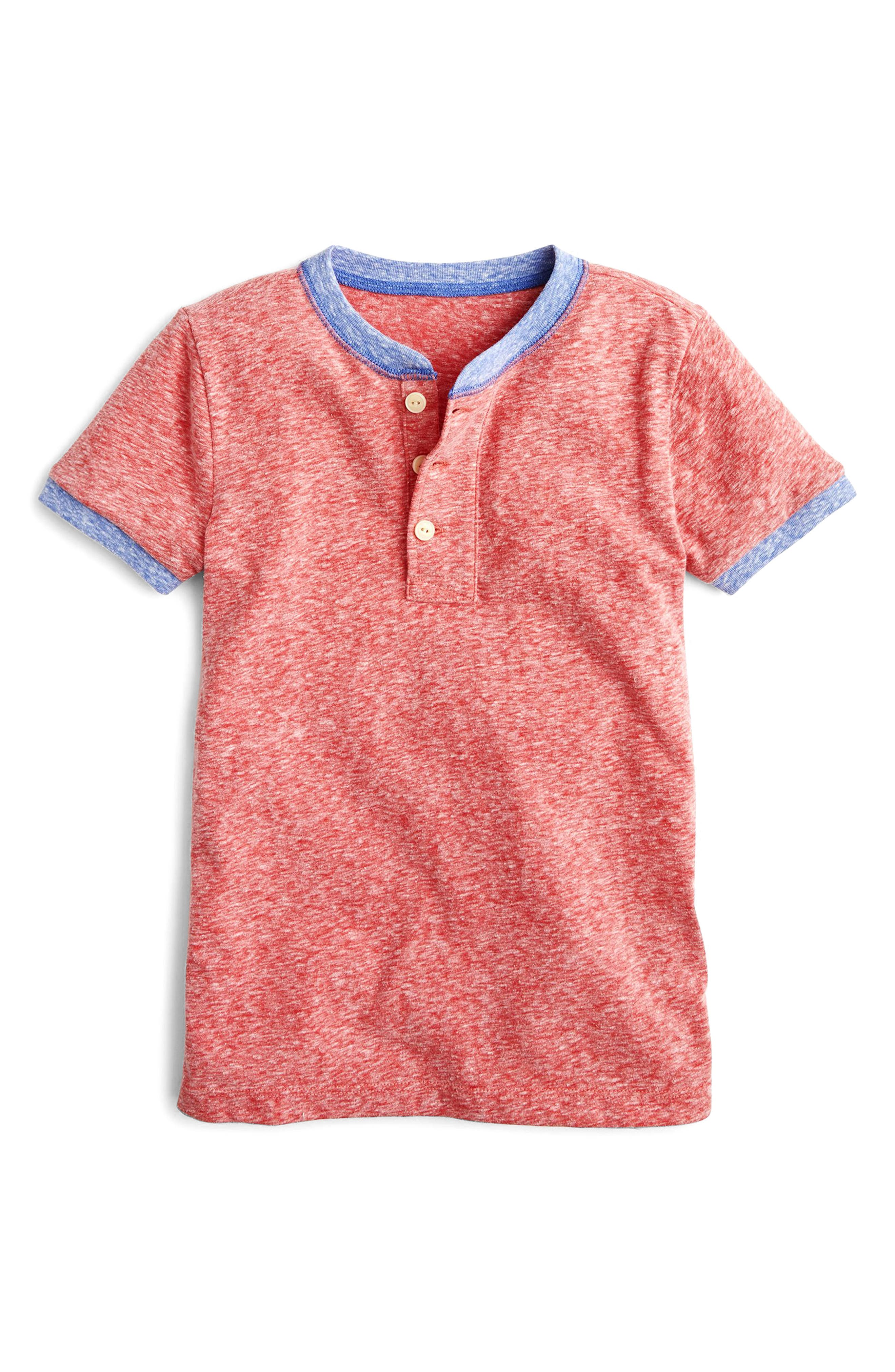 Contrast Ringer Henley,                         Main,                         color, Bohemian Red Multi
