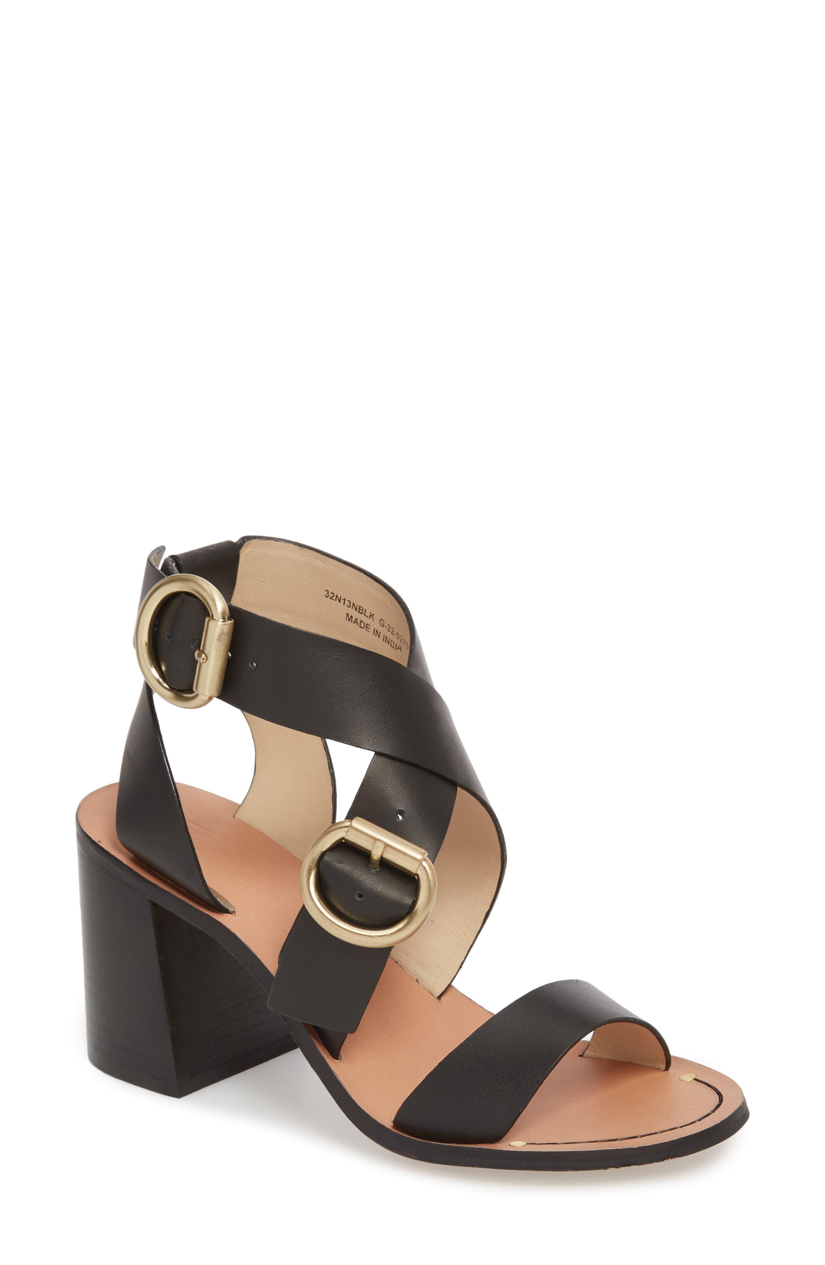 Natalie Buckled Cross Strap Sandal,                             Main thumbnail 1, color,                             Black Multi