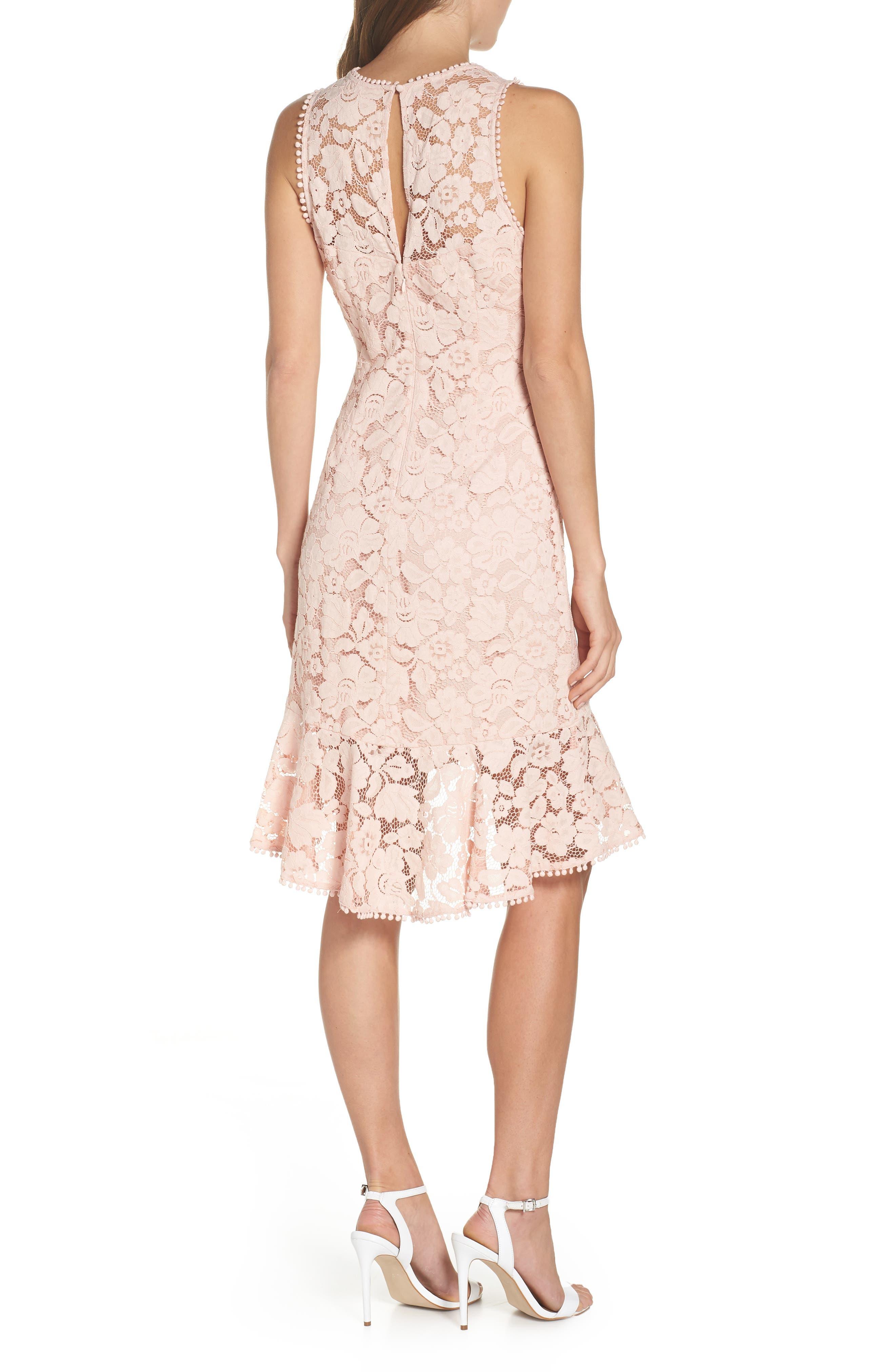 Sleeveless Lace Sheath Dress,                             Alternate thumbnail 2, color,                             Blush