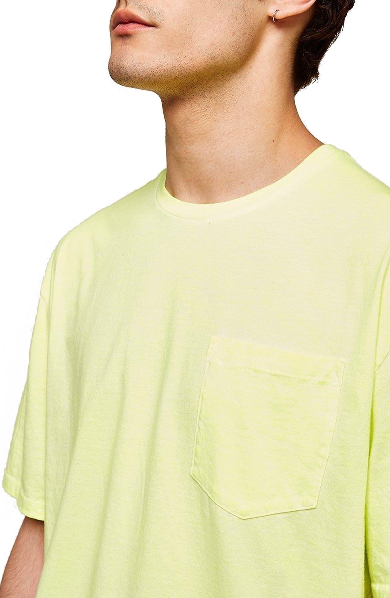 Oversize Acid Wash Pocket T-Shirt,                             Alternate thumbnail 3, color,                             Light Green