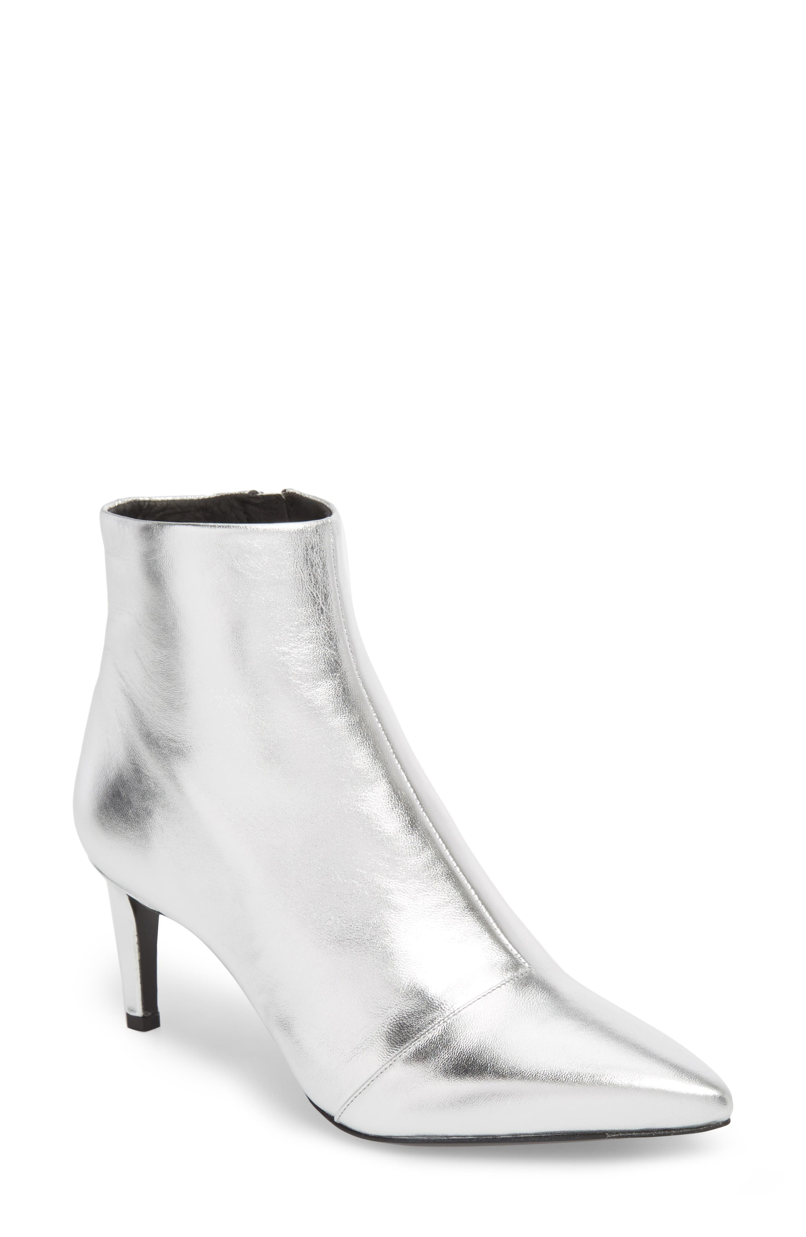 Beha Pointy Toe Bootie,                             Main thumbnail 1, color,                             Silver