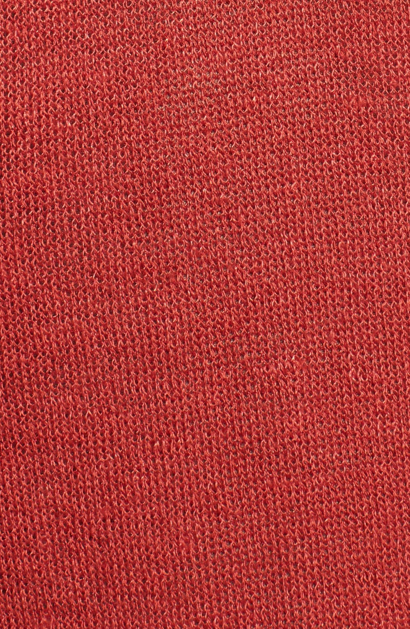 Long Linen Blend Cardigan,                             Alternate thumbnail 6, color,                             Rust Bossa Nova