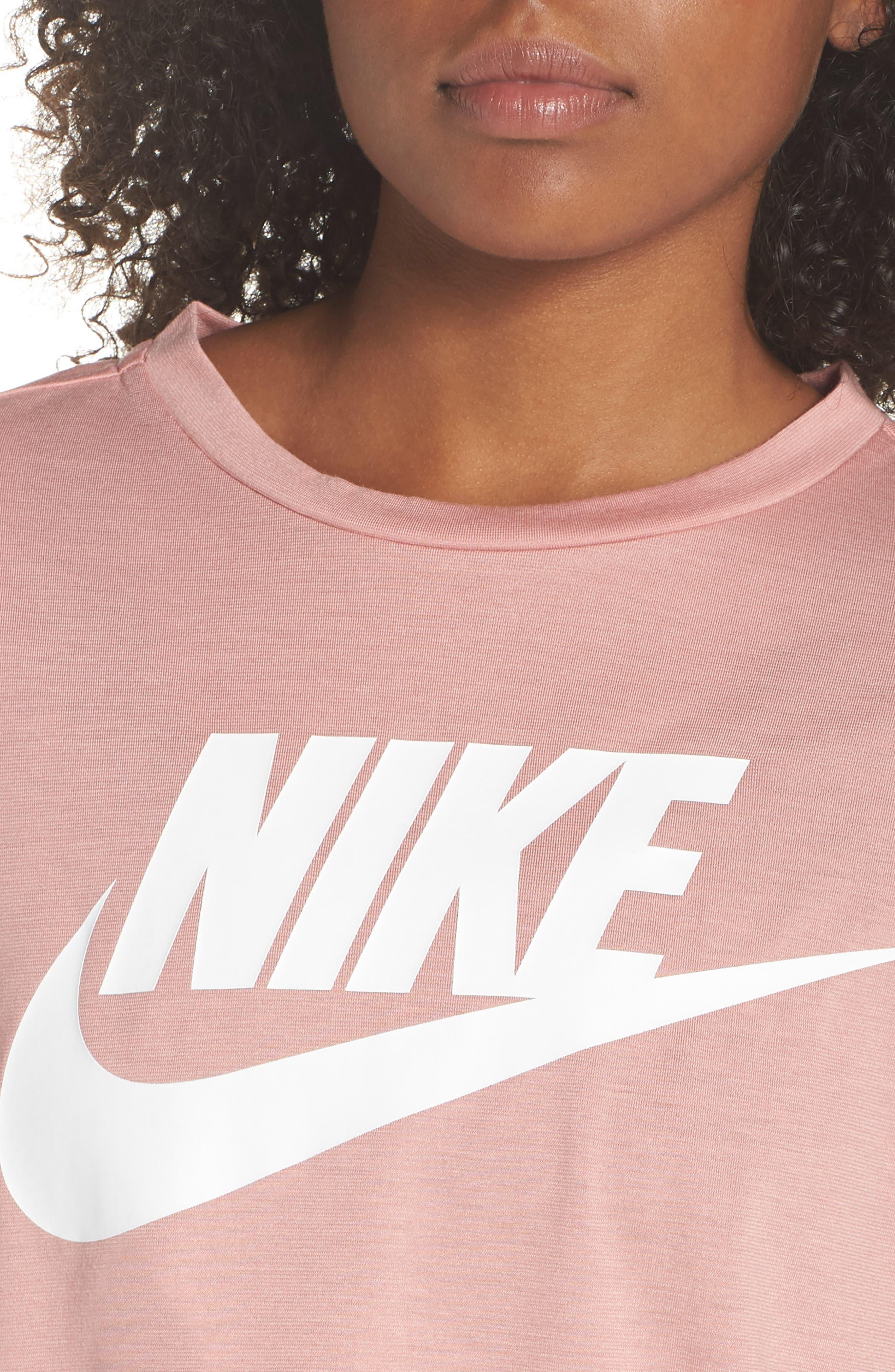 Sportswear Crop Top,                             Alternate thumbnail 4, color,                             Rust Pink/ White