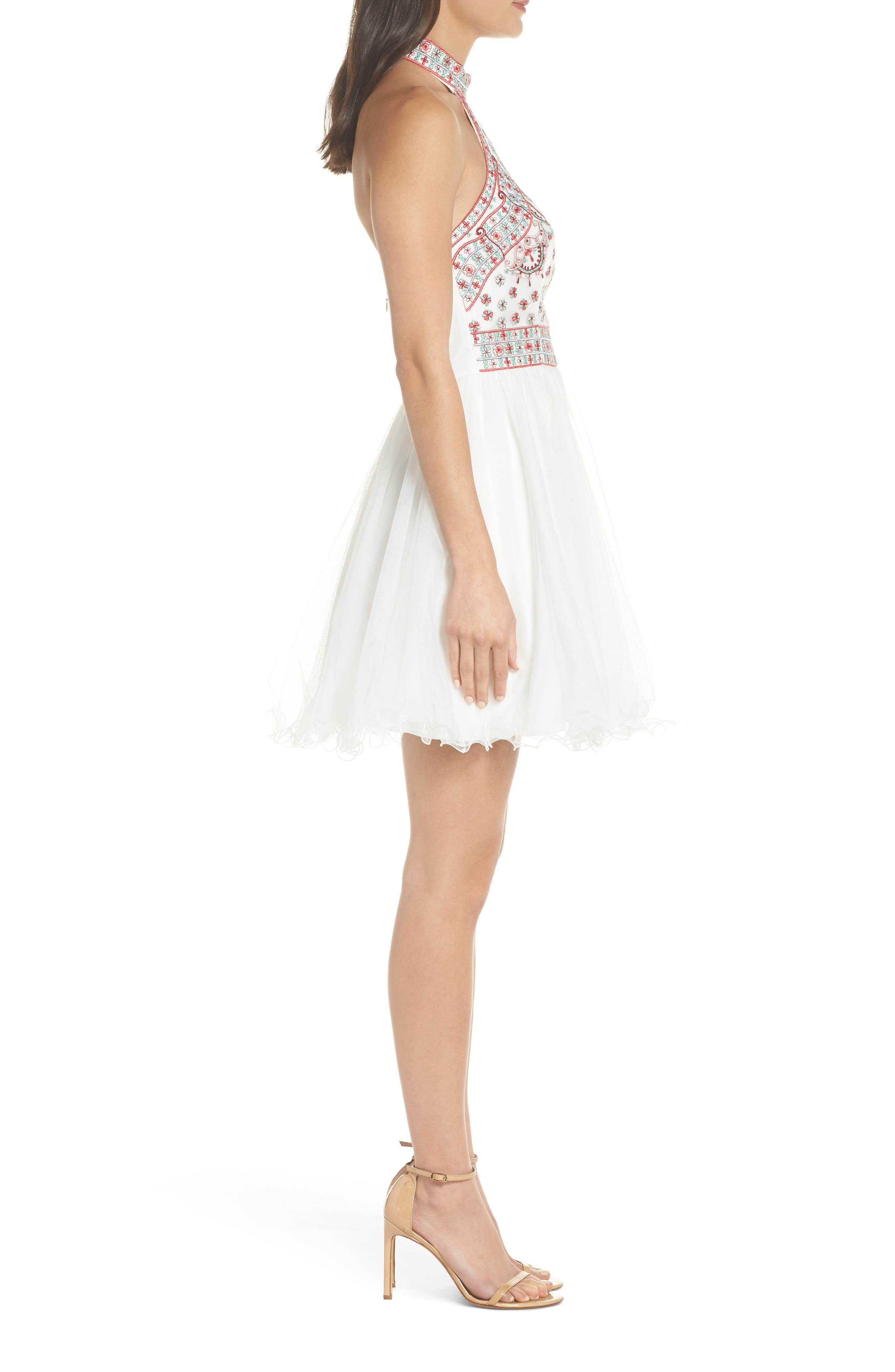 Embroidered Fit & Flare Halter Dress,                             Alternate thumbnail 3, color,                             Ivory/ Multi