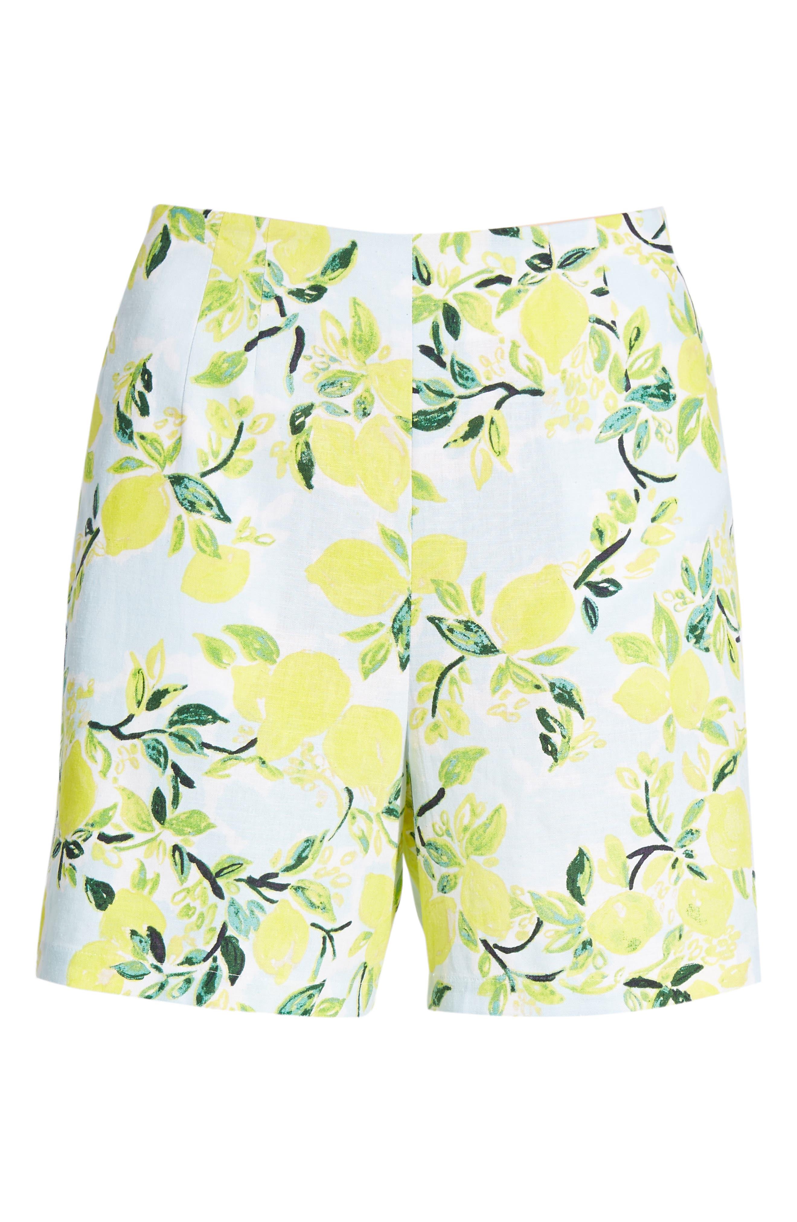 Print Linen Blend Shorts,                             Alternate thumbnail 6, color,                             Blue- Yellow Citrus Print