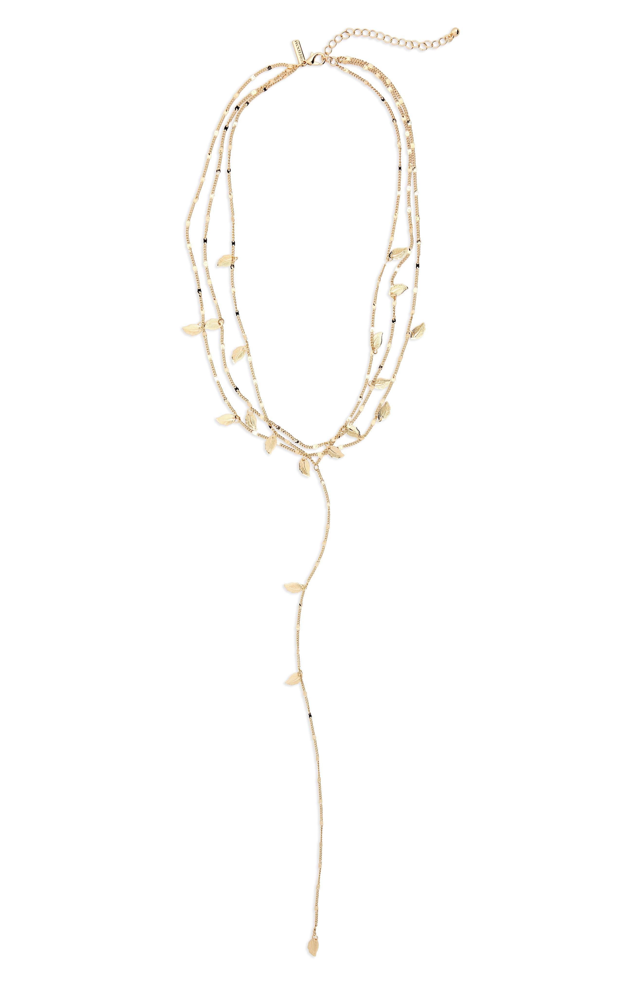 Leaf Station Multistrand Y-Necklace,                         Main,                         color, Gold