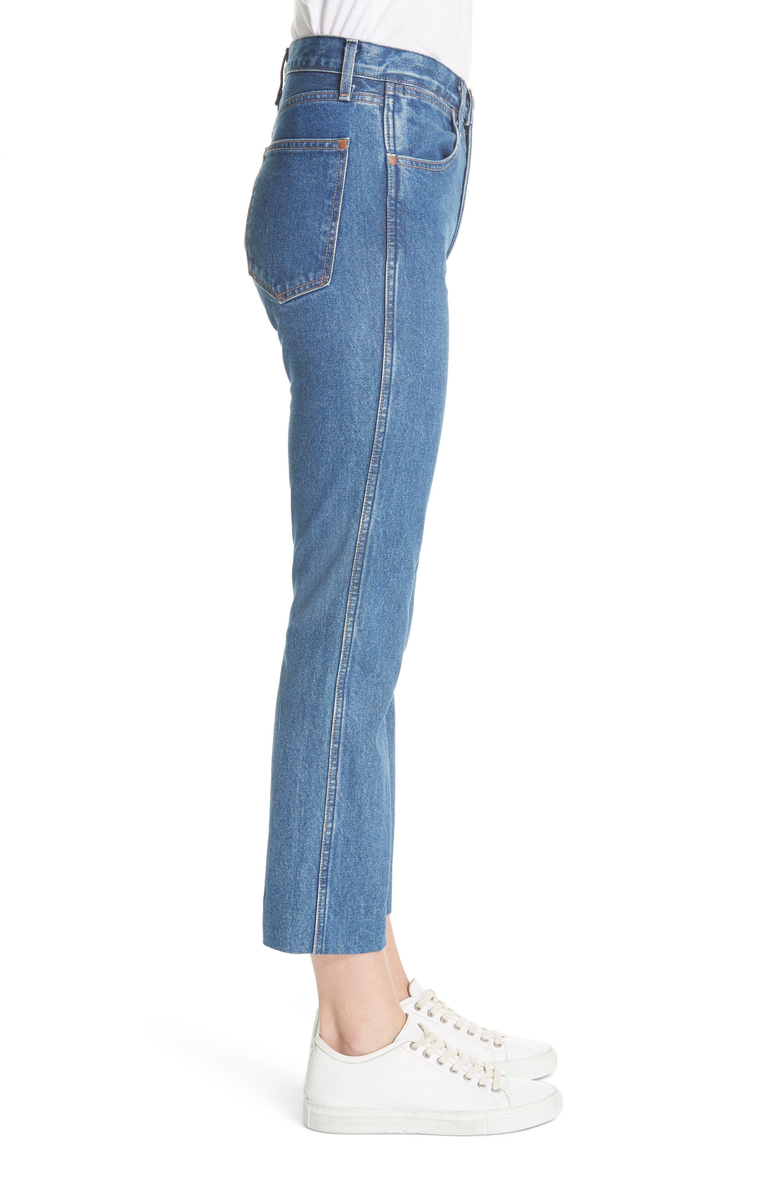 High Waist Crop Straight Leg Jeans,                             Alternate thumbnail 4, color,                             Vintage Bloo