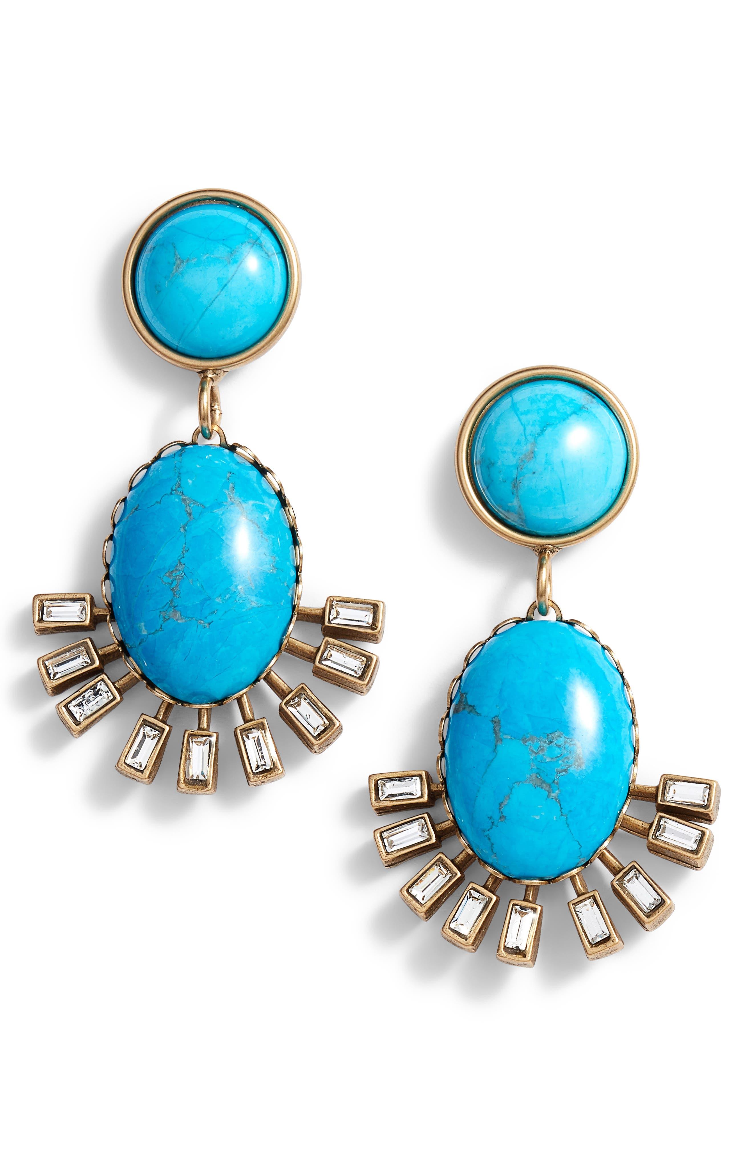 Howlite Earrings,                             Main thumbnail 1, color,                             Turquoise