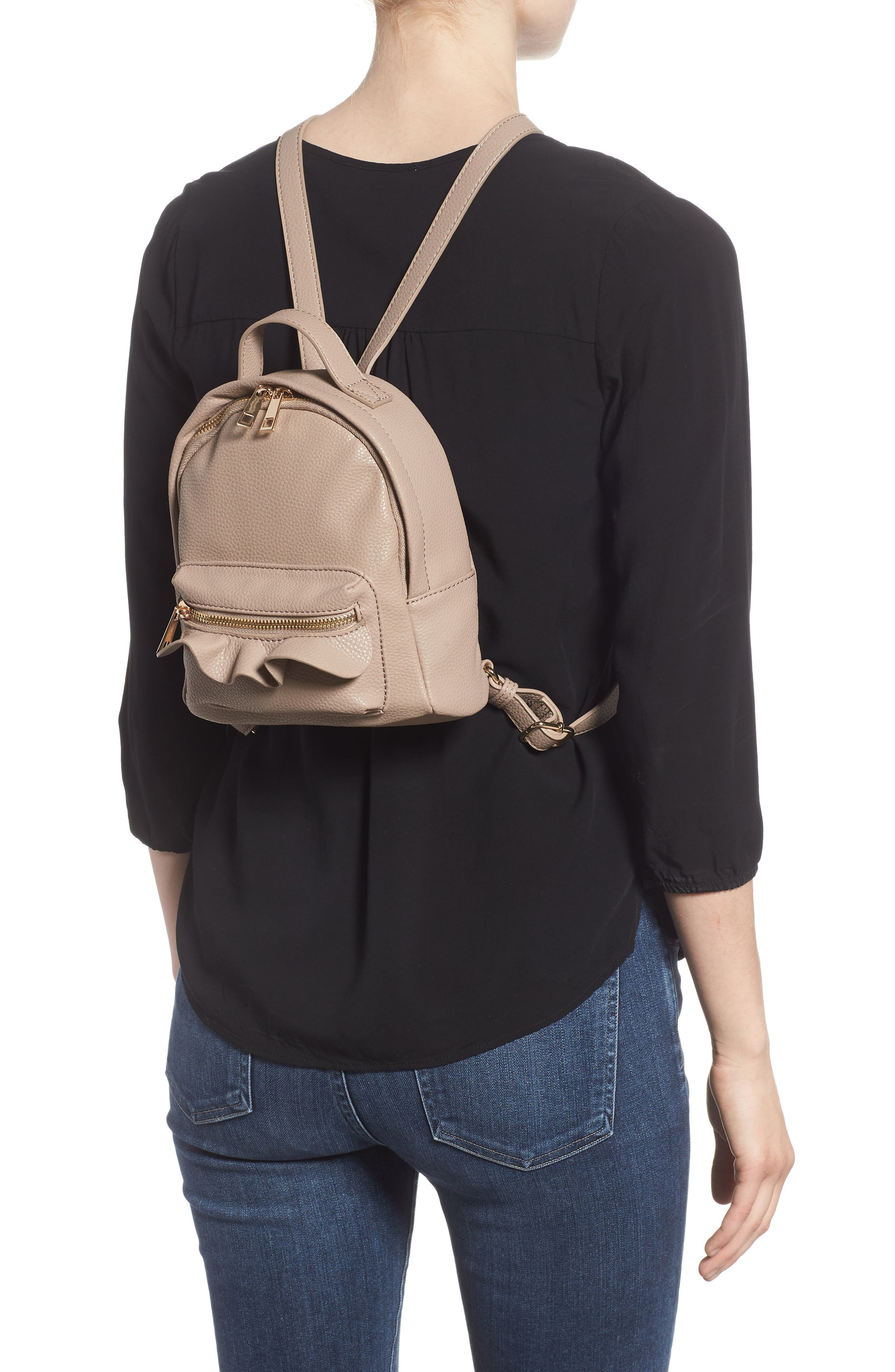 Tracie Mini Faux Leather Backpack,                             Alternate thumbnail 2, color,                             Taupe