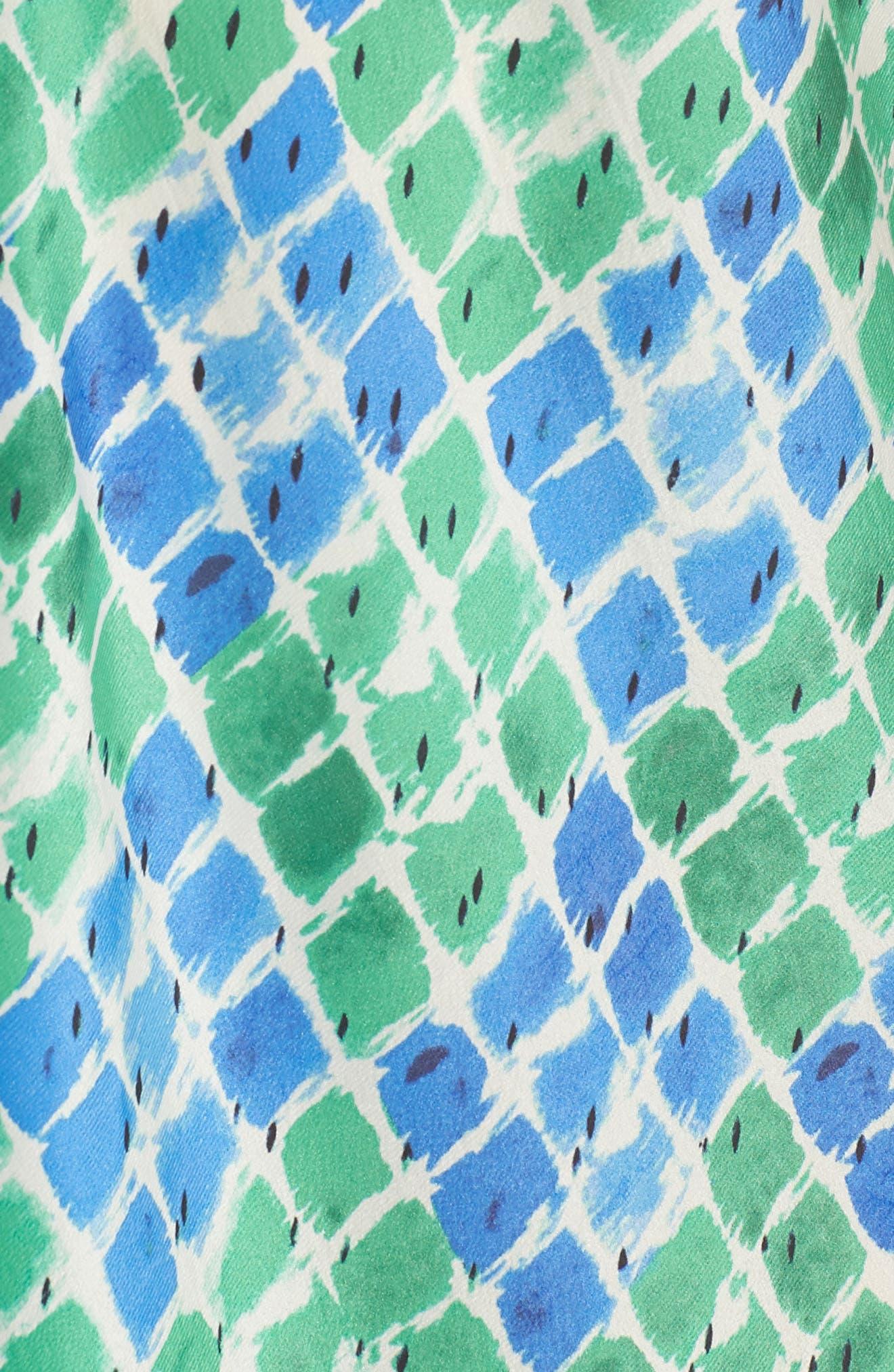 DJ Vu Handkerchief Hem Silk Blend Dress,                             Alternate thumbnail 4, color,                             Multi