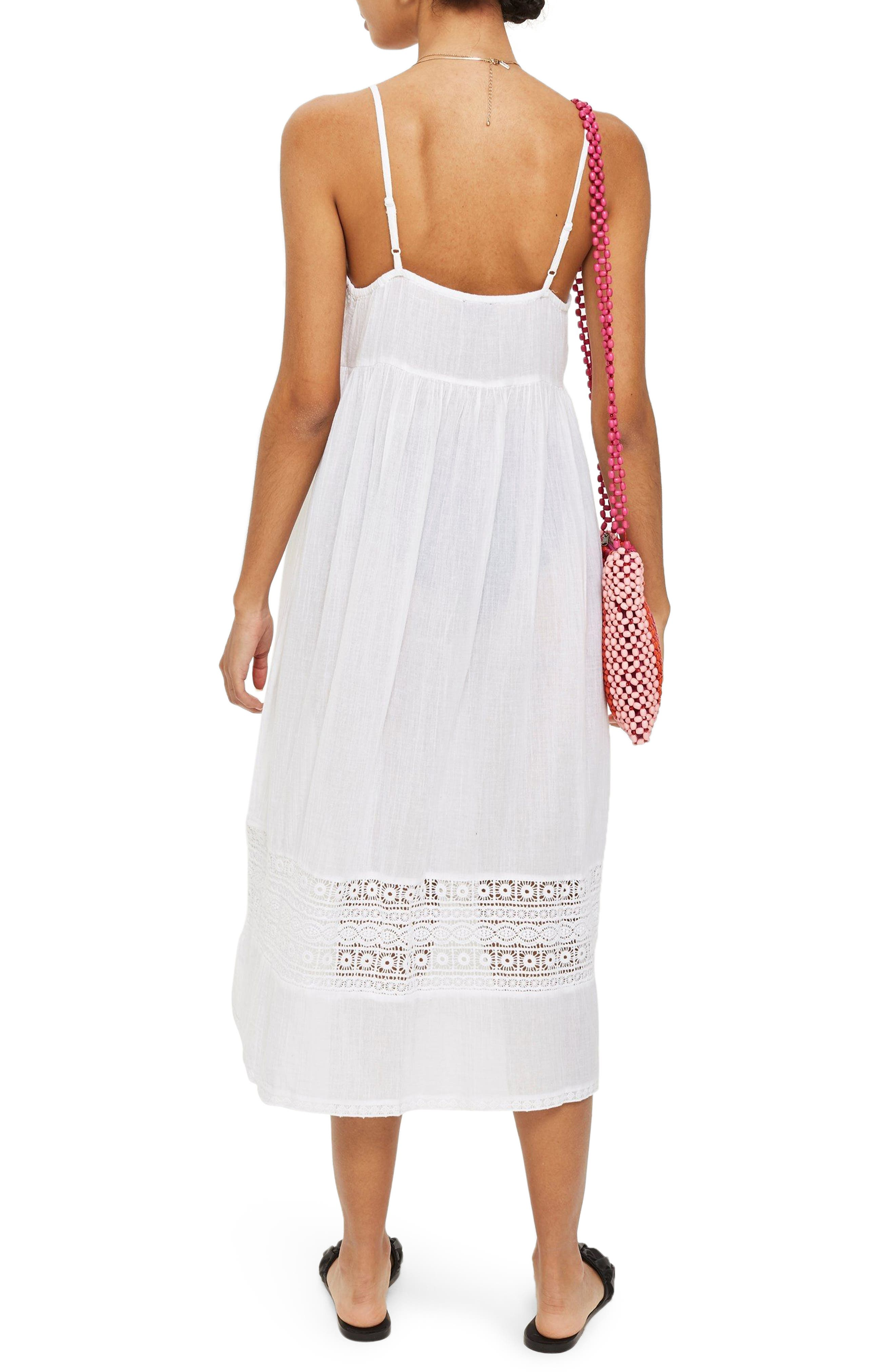 Lace Frill Midi Dress,                             Alternate thumbnail 2, color,                             White